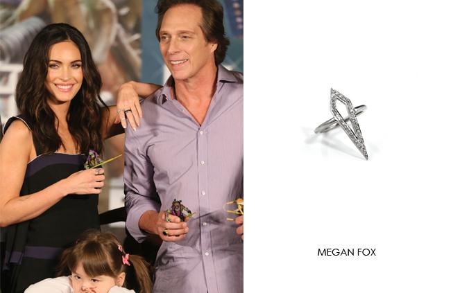 Megan Fox wearing Renee Sheppard Diamond Kite ring