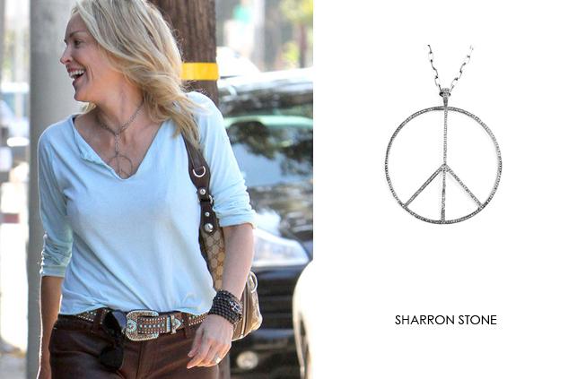 Sharon Stone wearing Renee Sheppard Pavé Diamond Peace pendant