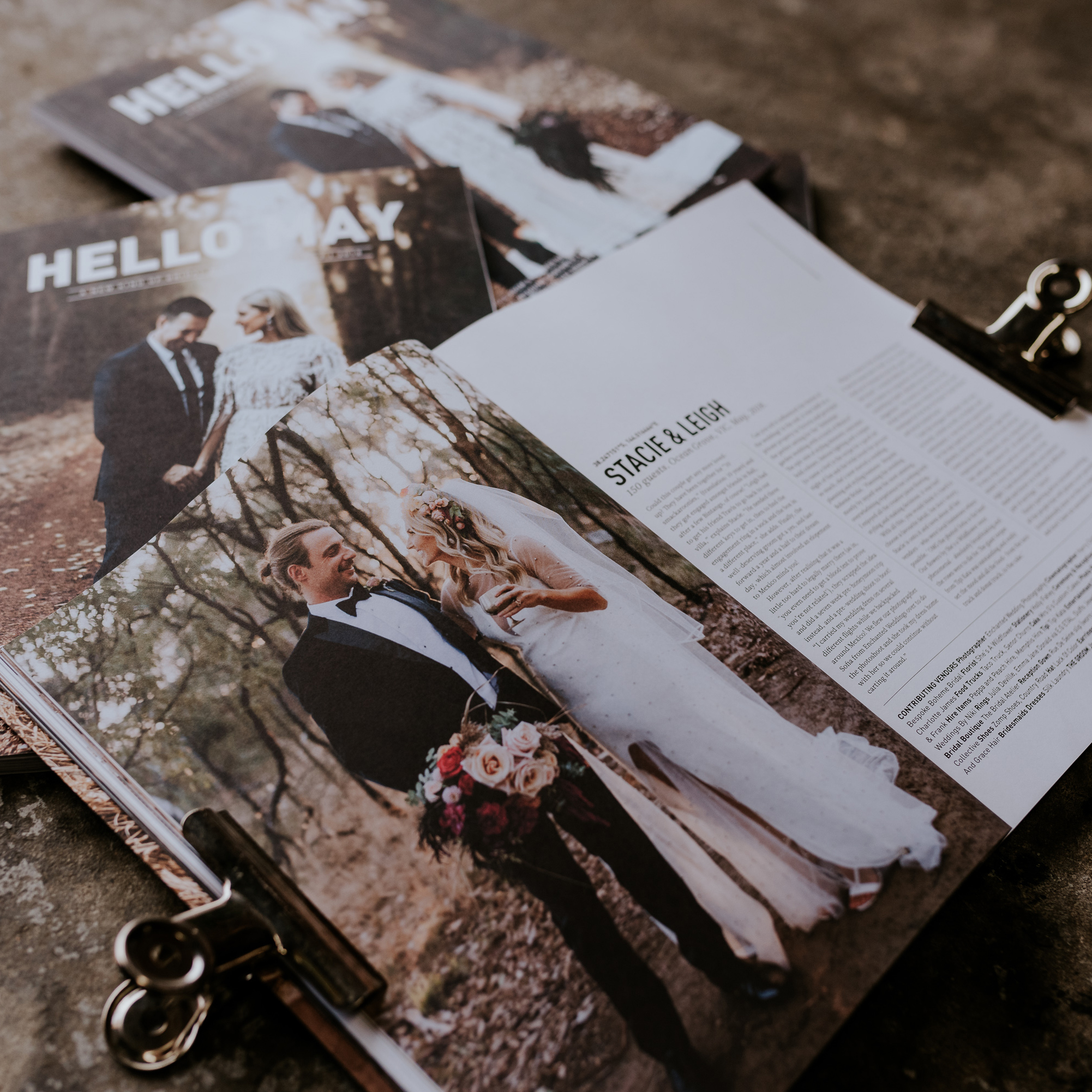 See Stacie and Liegh's WedFest in  Hello May Issue 22 ! If your looking for some wed-spiration these two killed it!  Captured by the incredible  Enchanted Wedding Photography  team! Magazine photo by  Scott Surplice Photography .