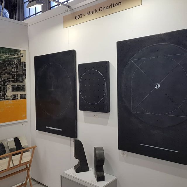 My stand is ready for the opening night of @theotherartfair in #London this evening, please see link in my bio for free tickets this weekend I'm on stand 3 :) #theotherartfair #theotherartfairldn #TOAF #brutalism #architecture #circles #monochrome #mixedmedia #artist #abstractart #abstractpainting #collage #concreteart #sculptures #screenprint #saatchiart #londonexhibition #artgallery #art #artforsale #contemporaryart #london #bloomsbury @theotherartfair @saatchiart