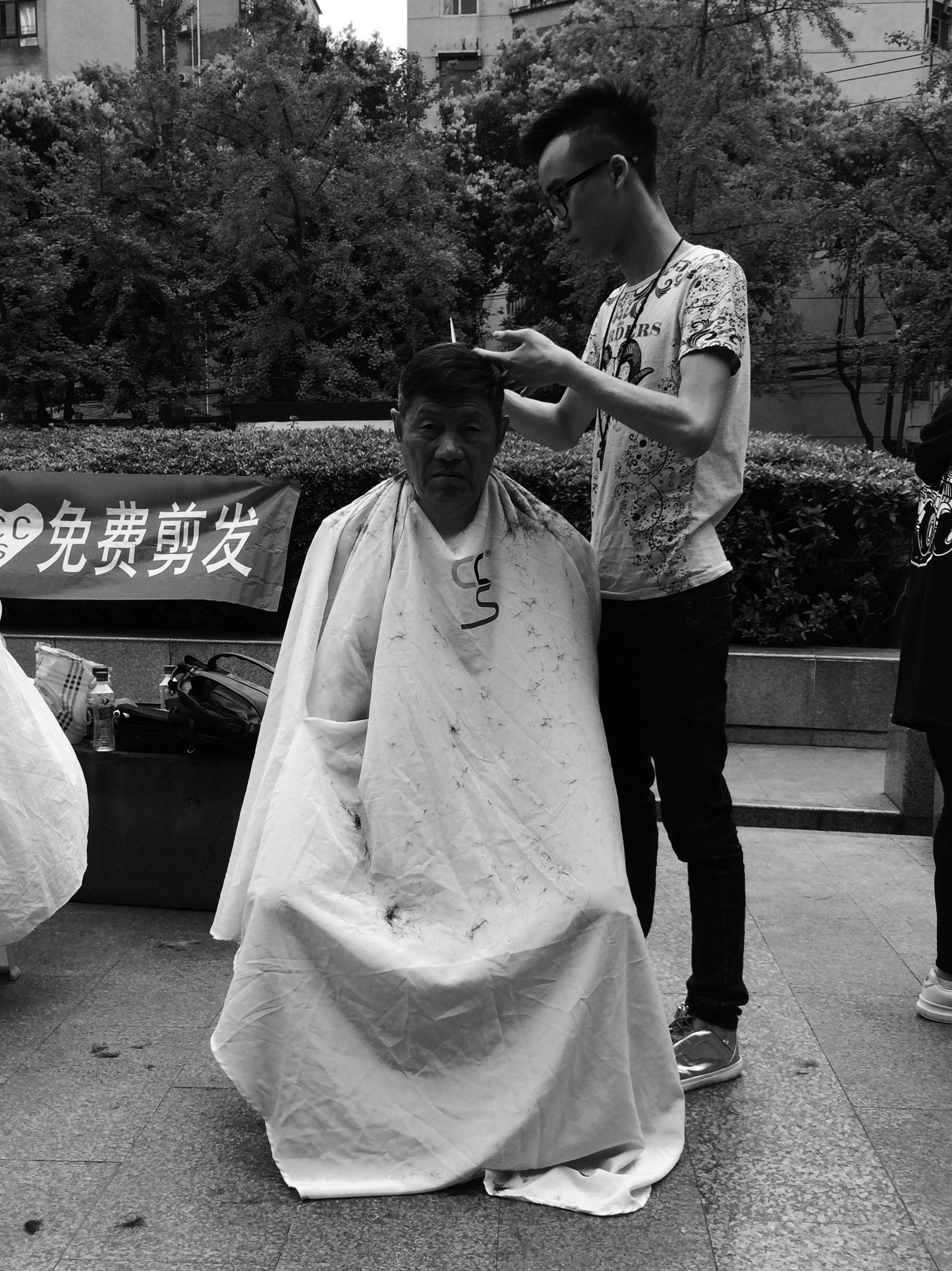 Hair cuts in the park