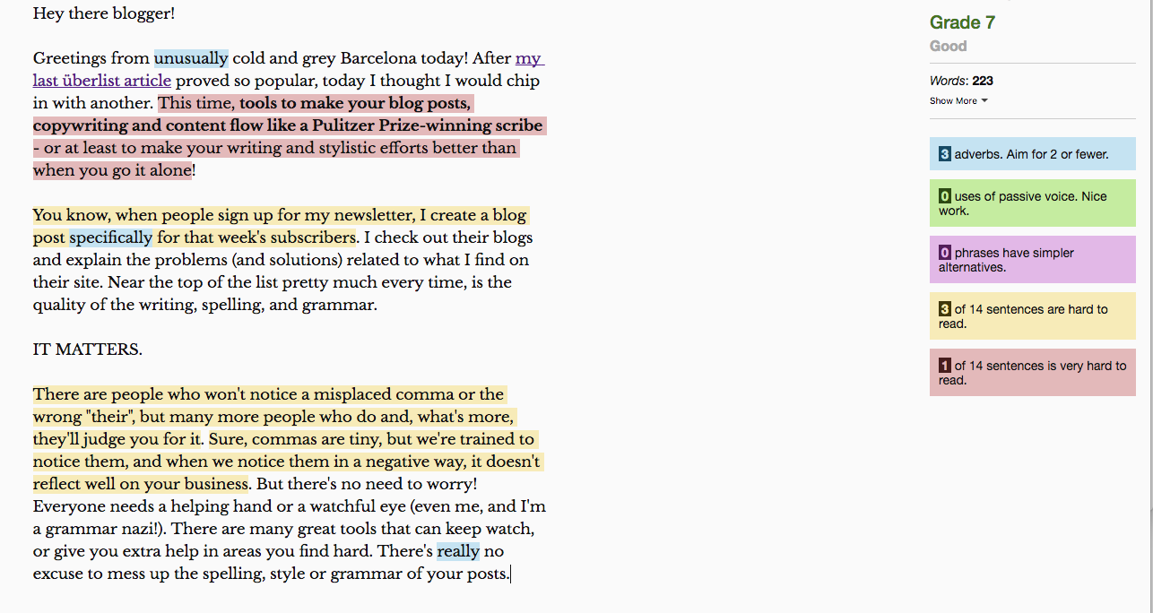 Hemingway analysis - writing tools for bloggers