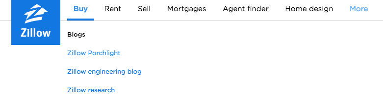 - Zillow add all blogs (including non-general interest engineering and research), to a sub-menu of