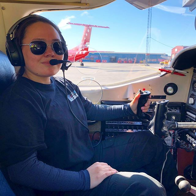 This is Karla. She has been our dedicated intern for two weeks, preparing the planes with our pilot, flying with us on several flights and attending to our guests needs. Expect to see her as your pilot sometime in the future, because we simply love her and her commitment to becoming a pilot and sharing one of the most scenic flights in the world.  Thankfully, she will drop by our office and airport lounge to keep the connection. We fully support her and wish her the best of luck in her future pilot career. Also a warm thank you to Air Greenland for showing Karla the cockpit of a Dash 8