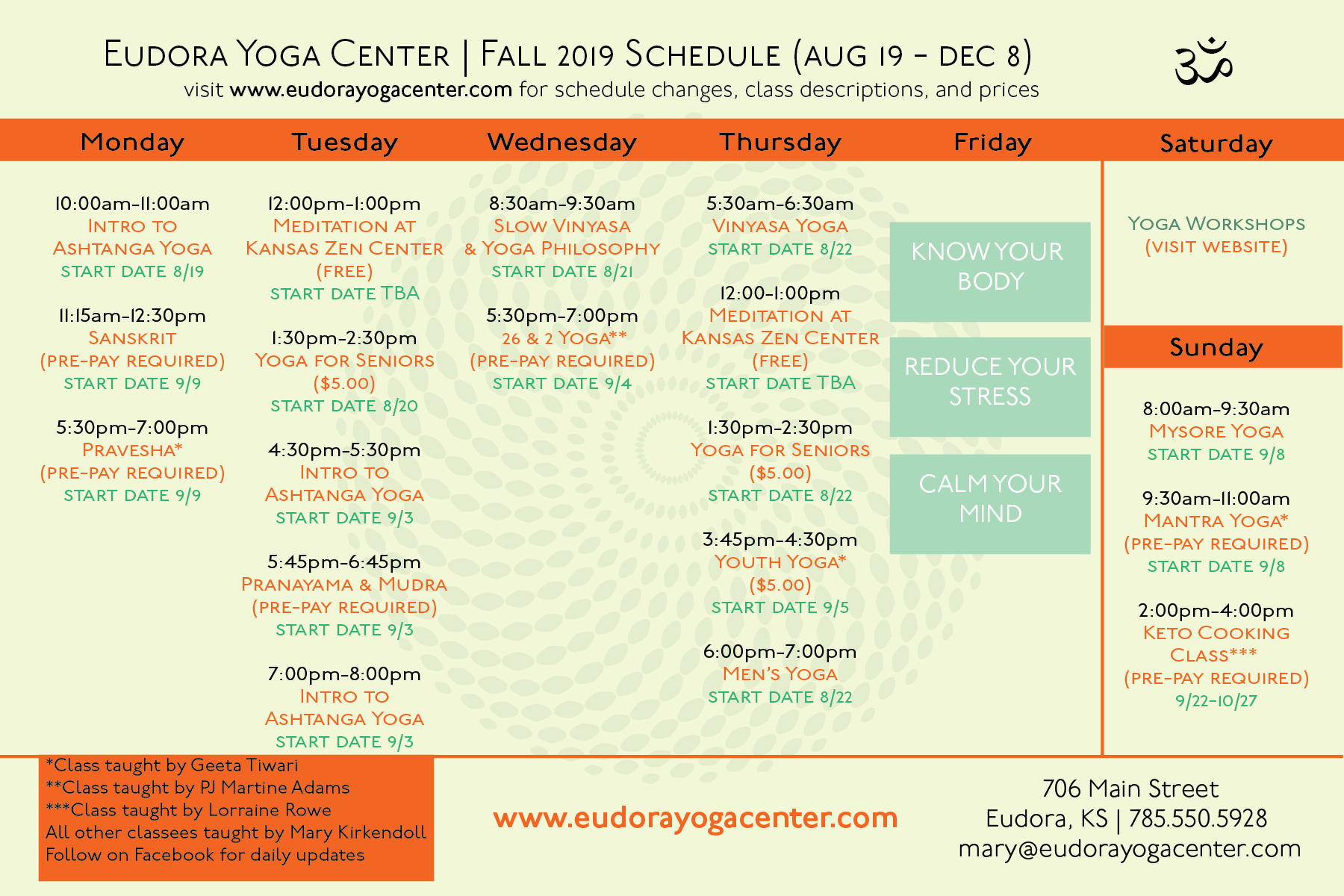EYC SCHEDULE - FALL 2019