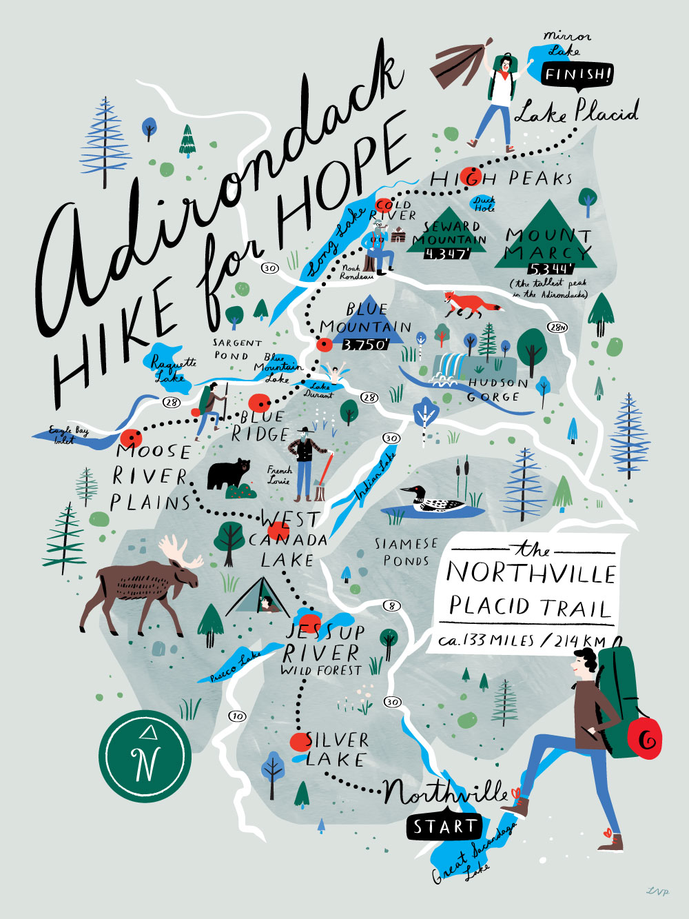 For your donation of $125 we will send you this beautiful poster exclusively designed for ADK Hike for Hope © by Brooklyn-based artist Libby VanderPloeg. The poster measures 16 x 20 inches and is ink jet printed on matte paper .008 stock. More work by Libby  HERE .