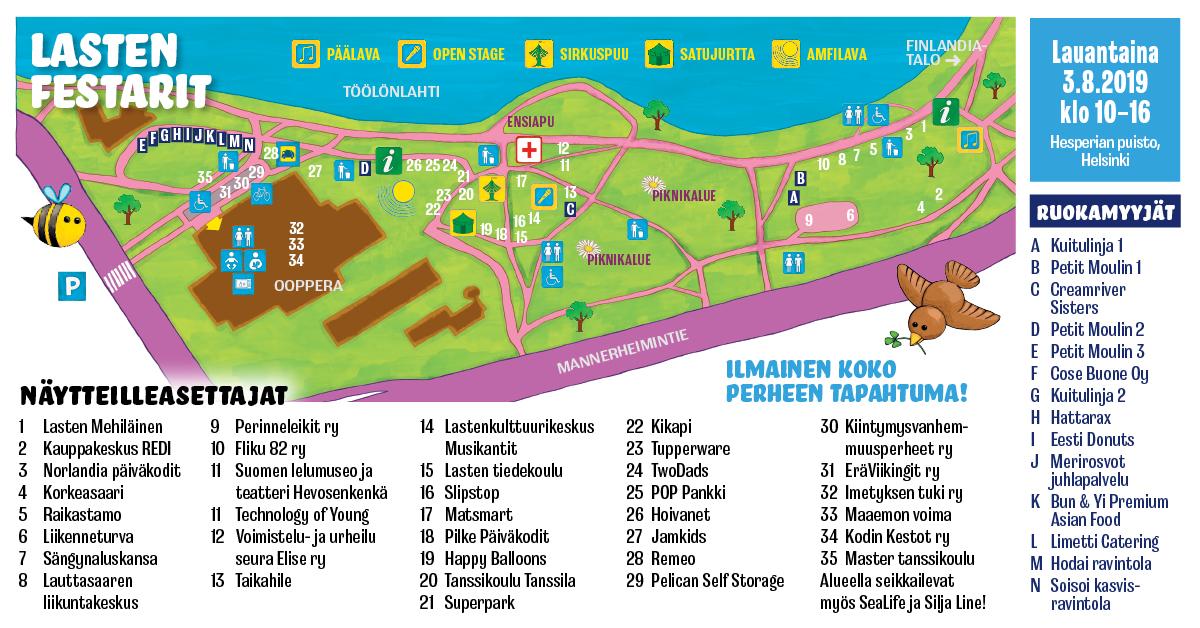 Kartta Lasten Festarit 2019