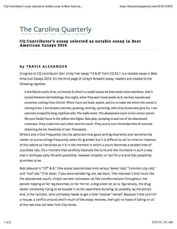 CQ Contributor's essay selected as notable essay in Best American Essays 2016 | Carolina Quarterly.jpg