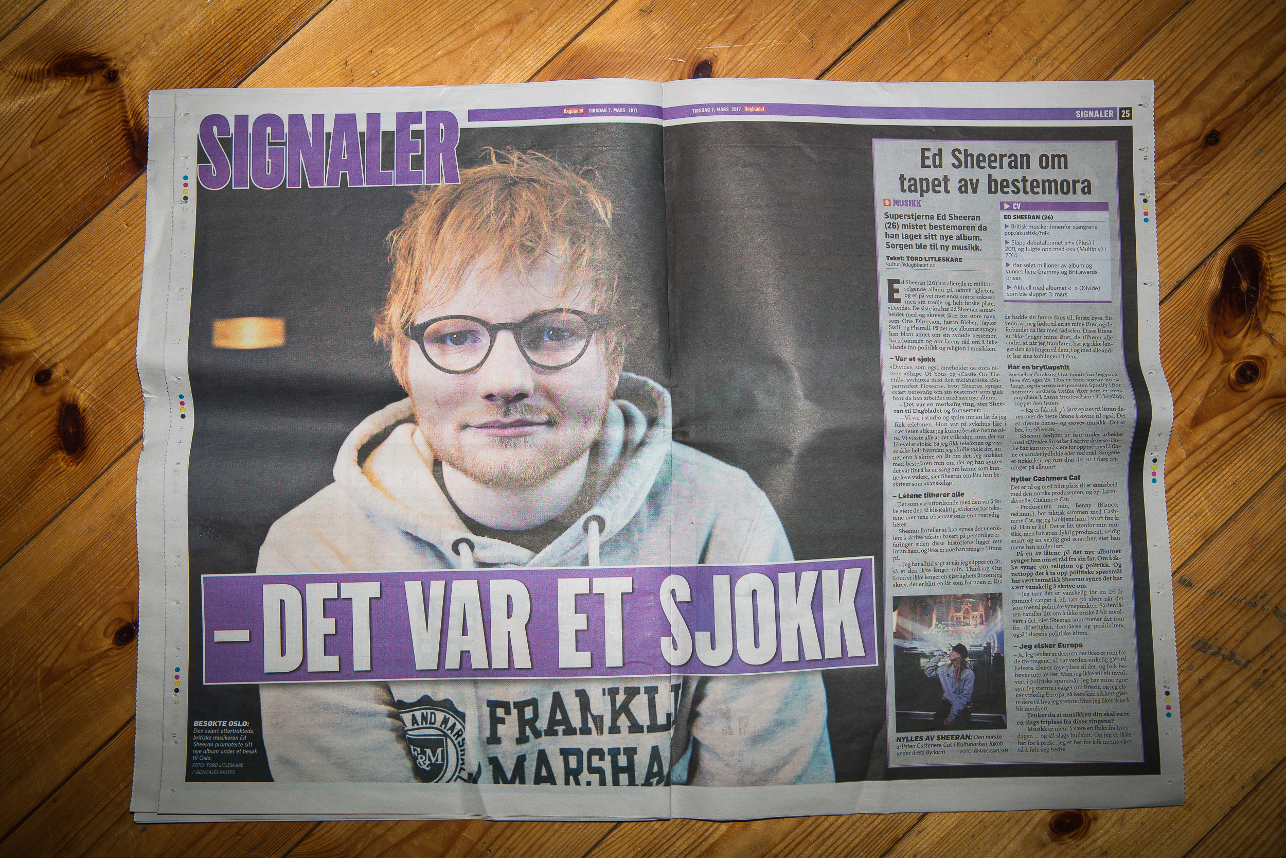 My interview (and photo) with Ed Sheeran in Dagbladet.