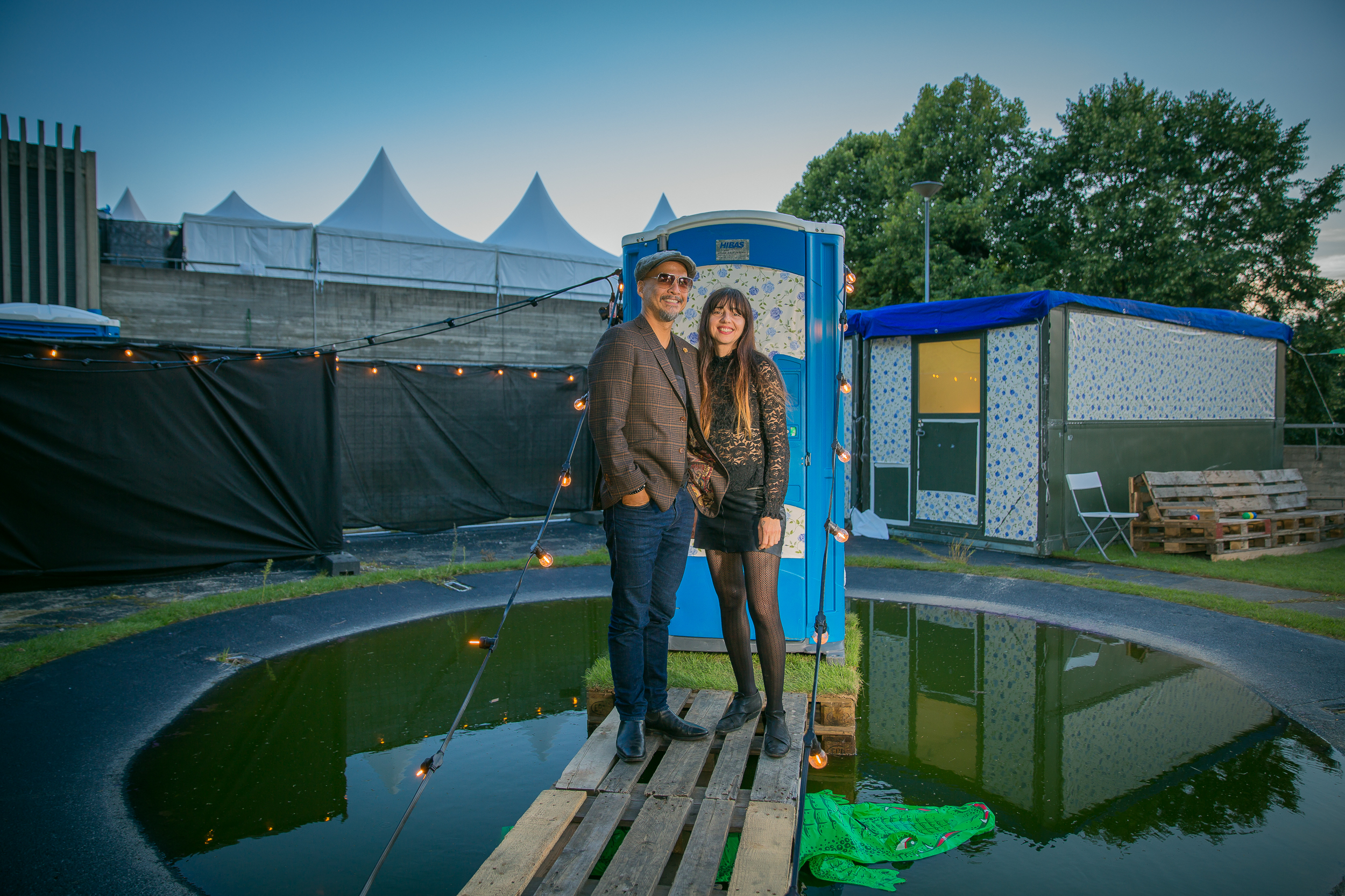 Joey Santiago and Paz Lenchantin of Pixies backstage at Øya
