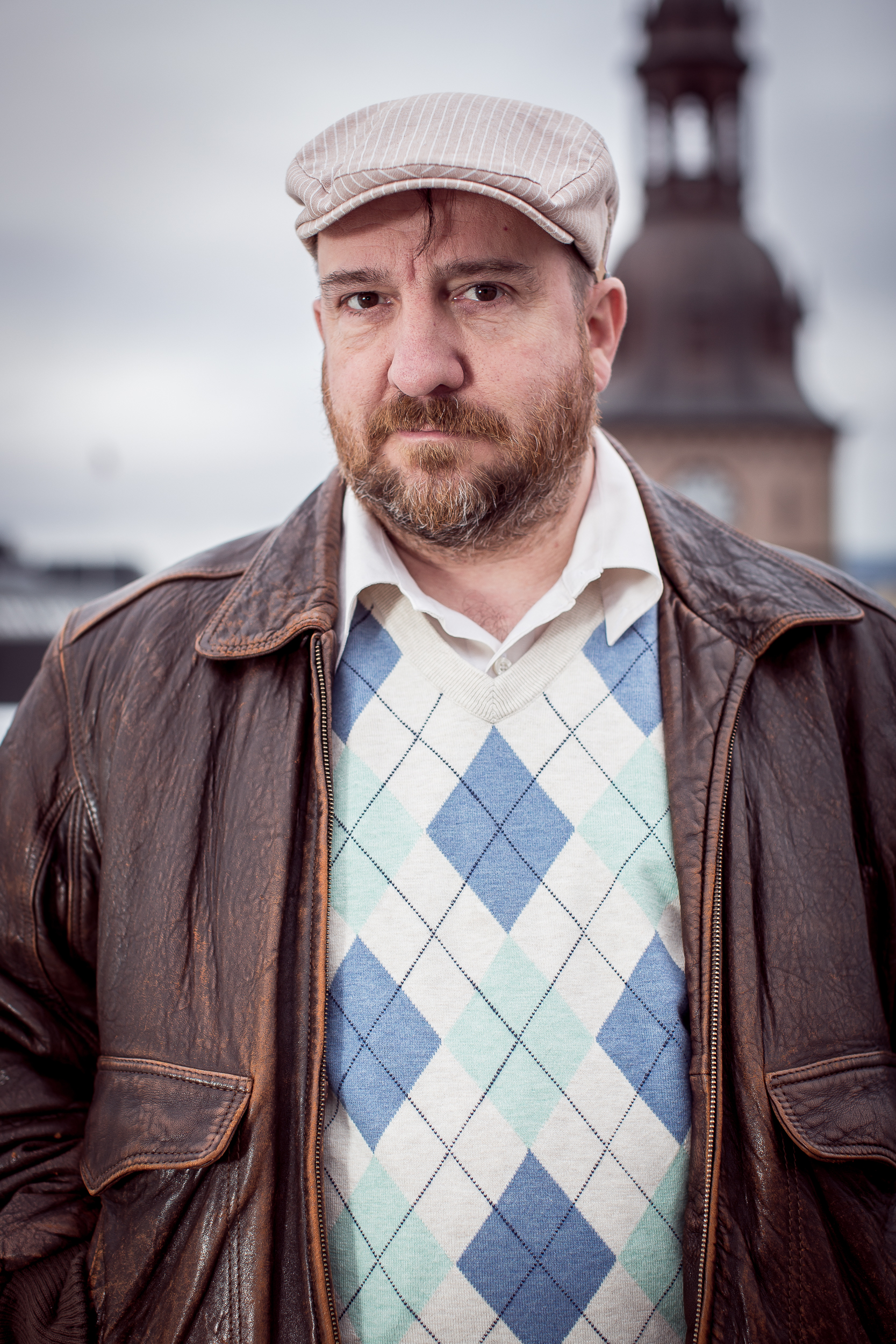 Stephin Merritt (of The Magnetic Fields) posing for a portrait in Oslo