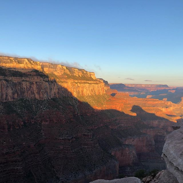 Yesterday, I ran and hiked the R2R2R—a double crossing of the Grand Canyon. The ~48 miles lulled me into a timeless state: any clock-watching or fantasies of dinner only had meaning so long as I kept moving forward. One more step, one more breath, and we're still not almost there. It was a good day on Planet Earth :-)
