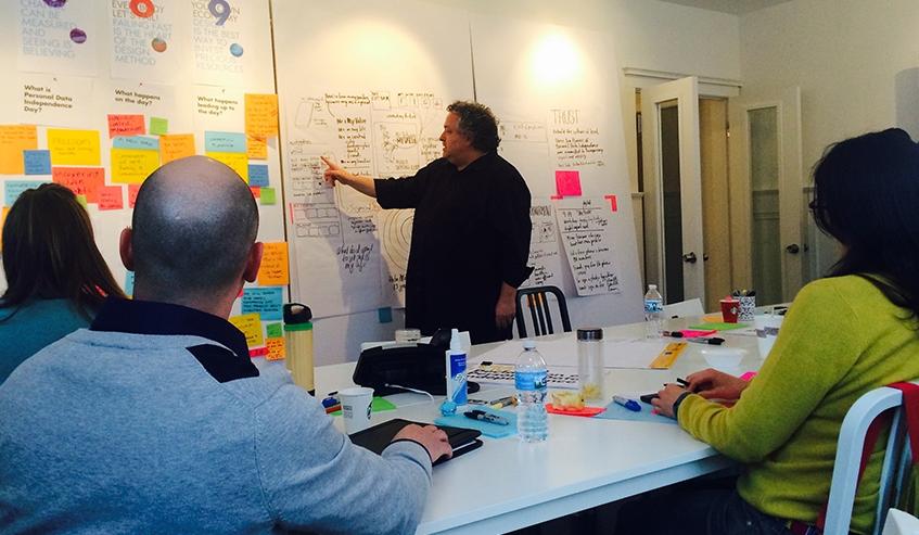 Bruce Mau presenting a Design Thinking workshop.
