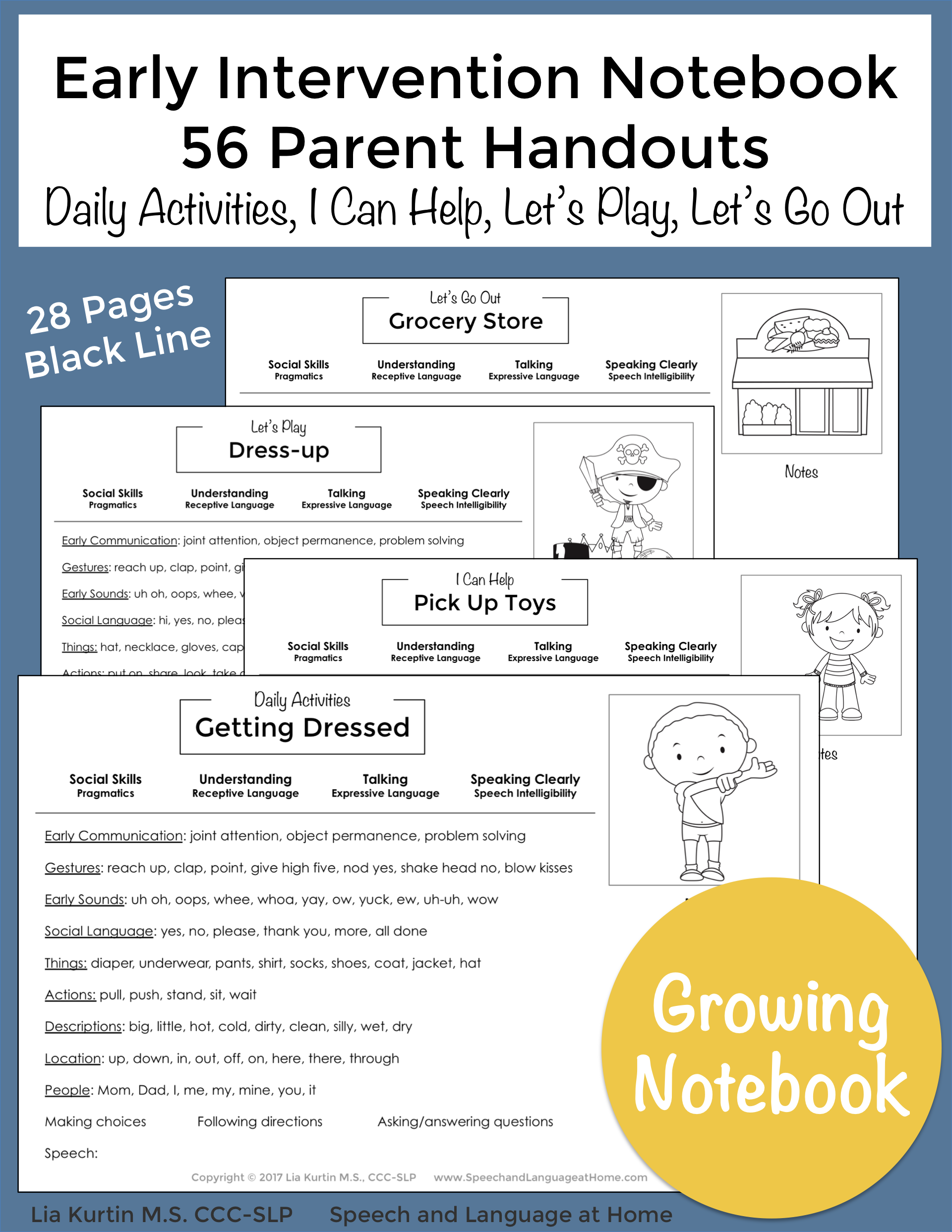 Early Intervention Handouts for Parents and Families by Lia Kurtin at Speech and Language at Home. Excellent resource for speech thearpy.
