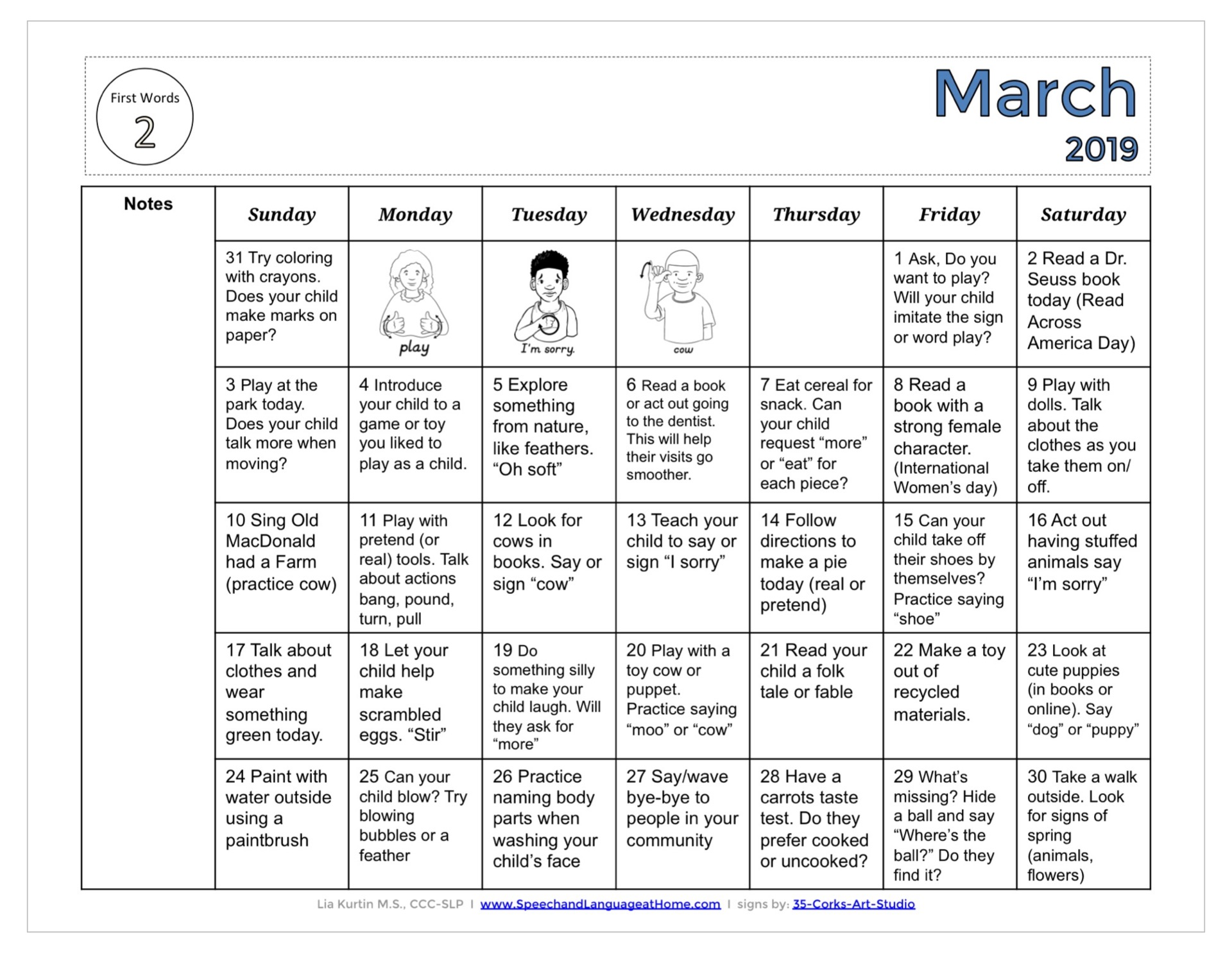 March Activity Calendars
