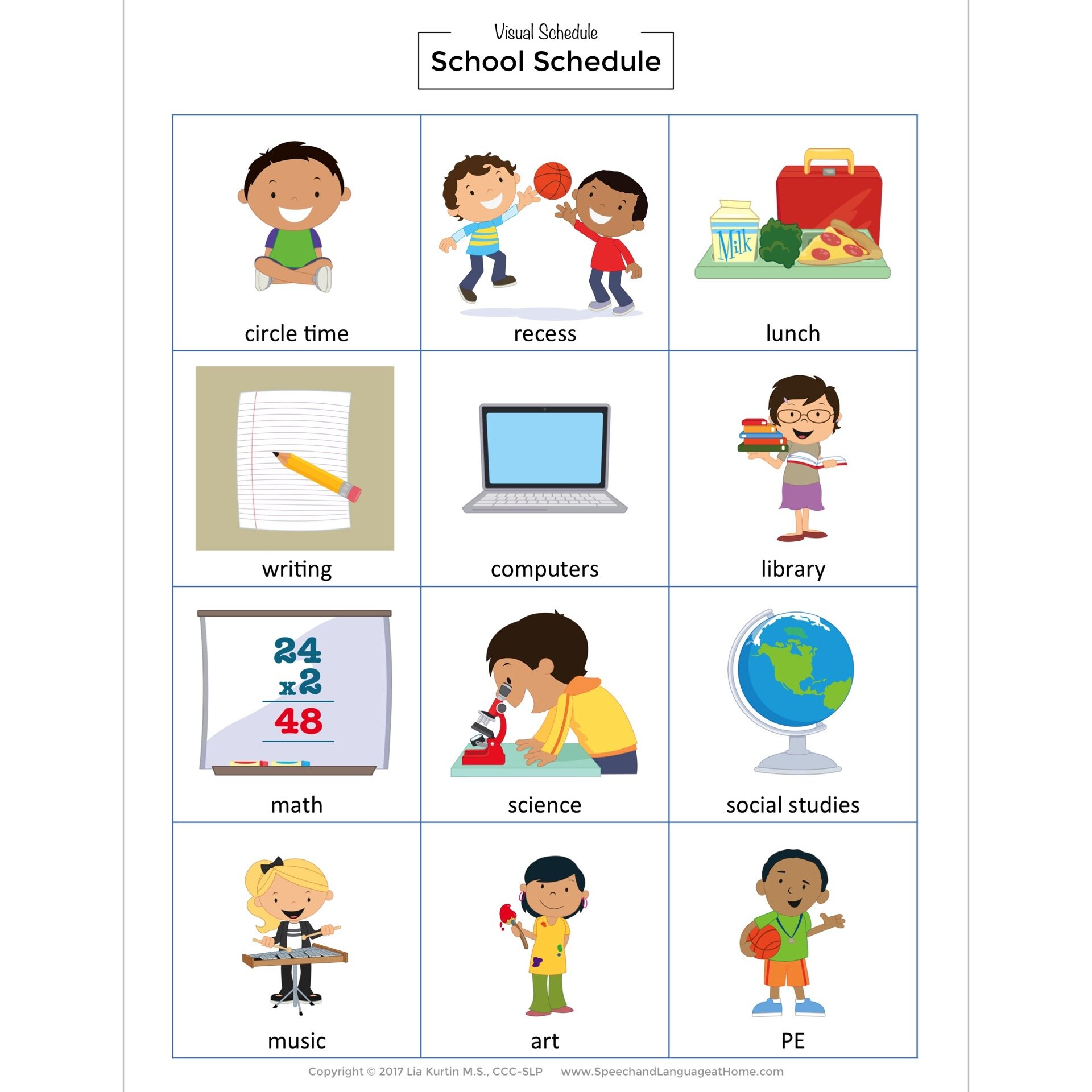 Visual Schedule For Daily Routines Picture Card Printables Speech And Language At Home