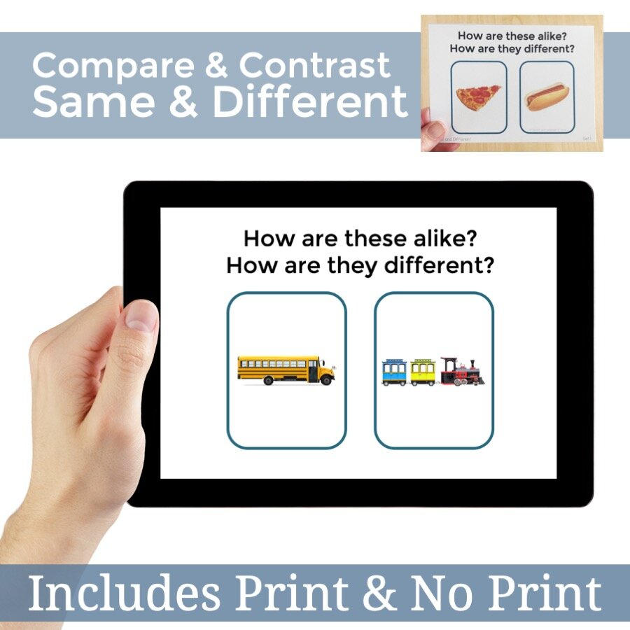 Same And Different Compare And Contrast Digital Pdf And Printables Speech And Language At Home