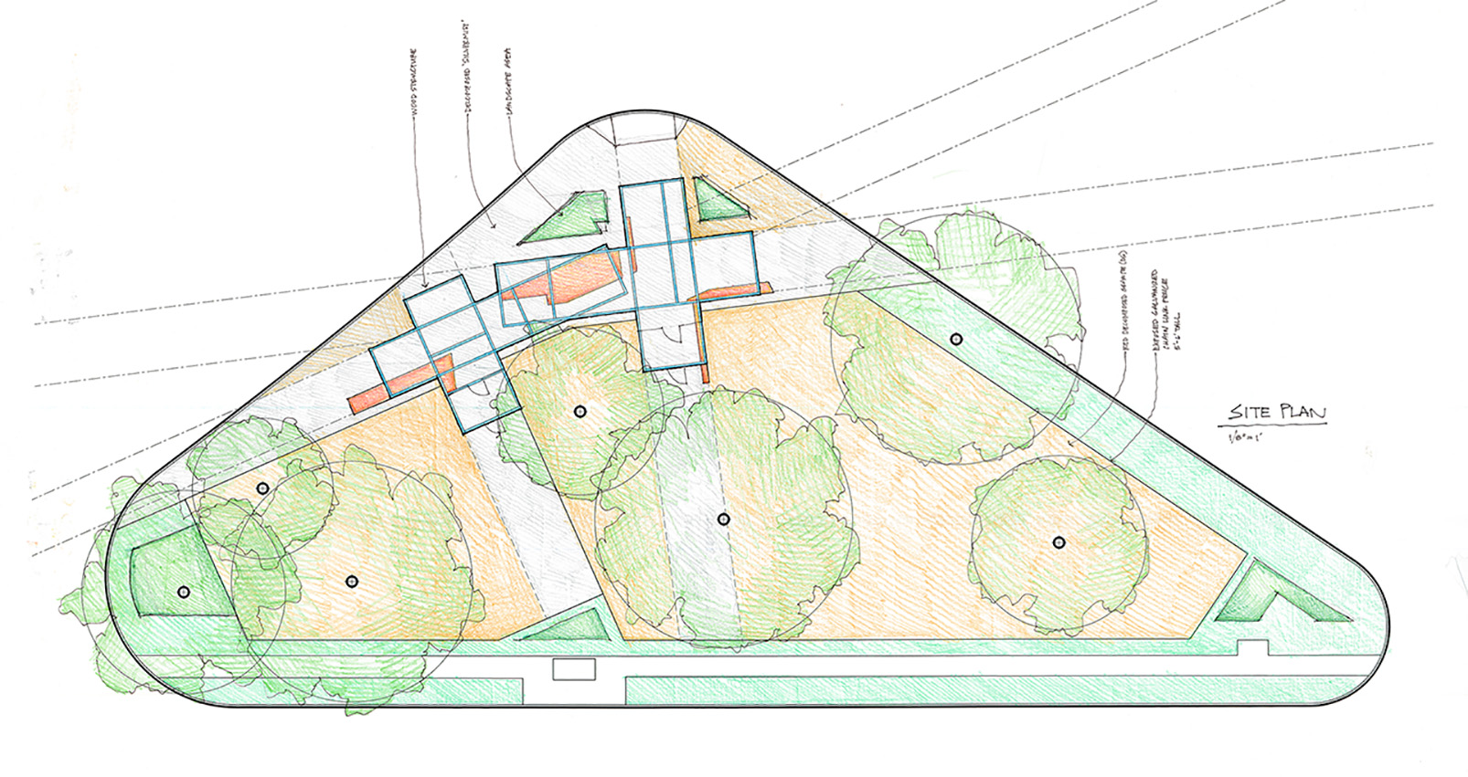A future phase will include permanent structures, irrigation and additional landscaping. Design by Eric Gonzalez.
