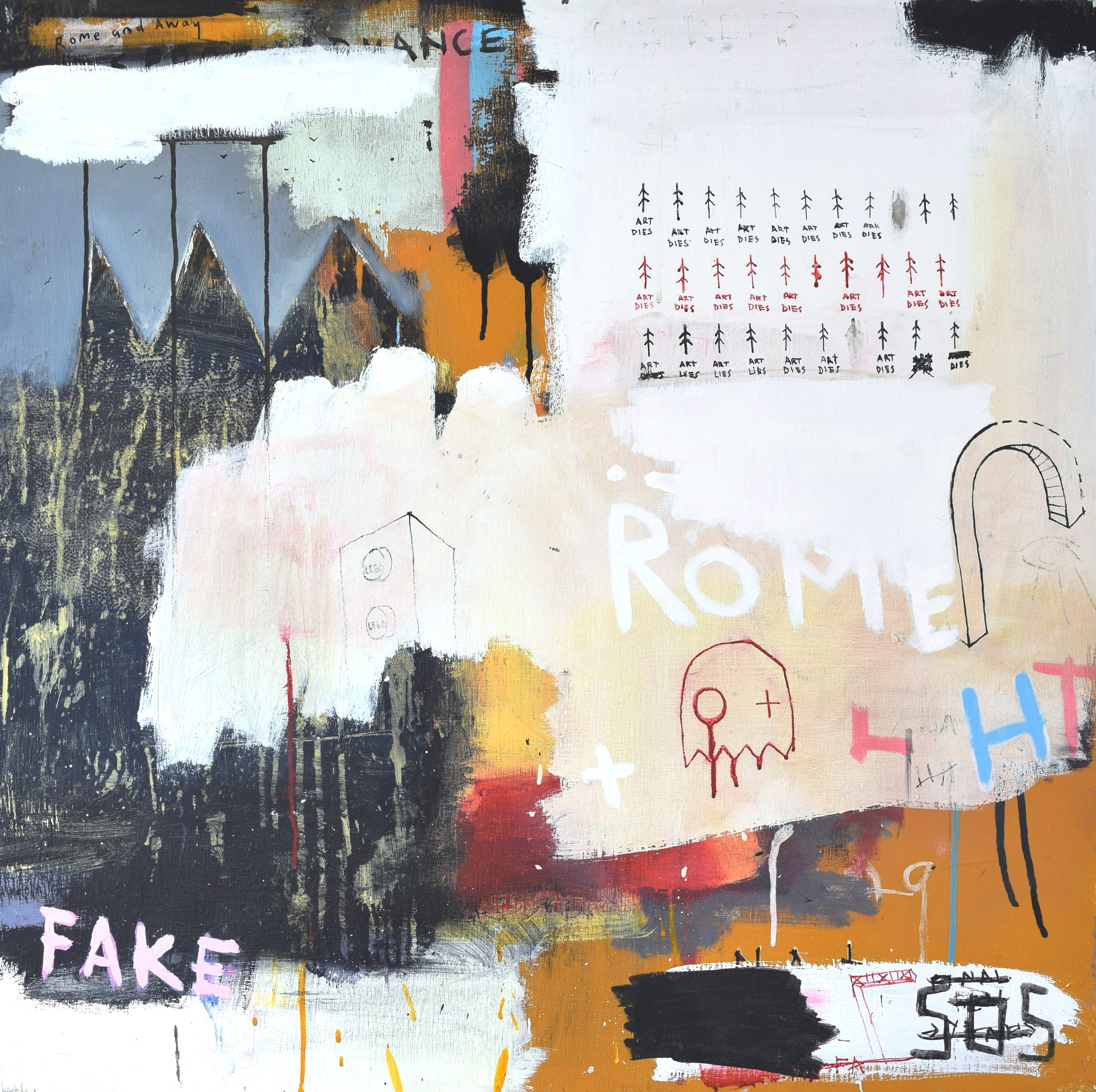 'ROME AND AWAY' 2014    Spray paint and acrylic paint on wood. 100 x 100 x 3.5 cm