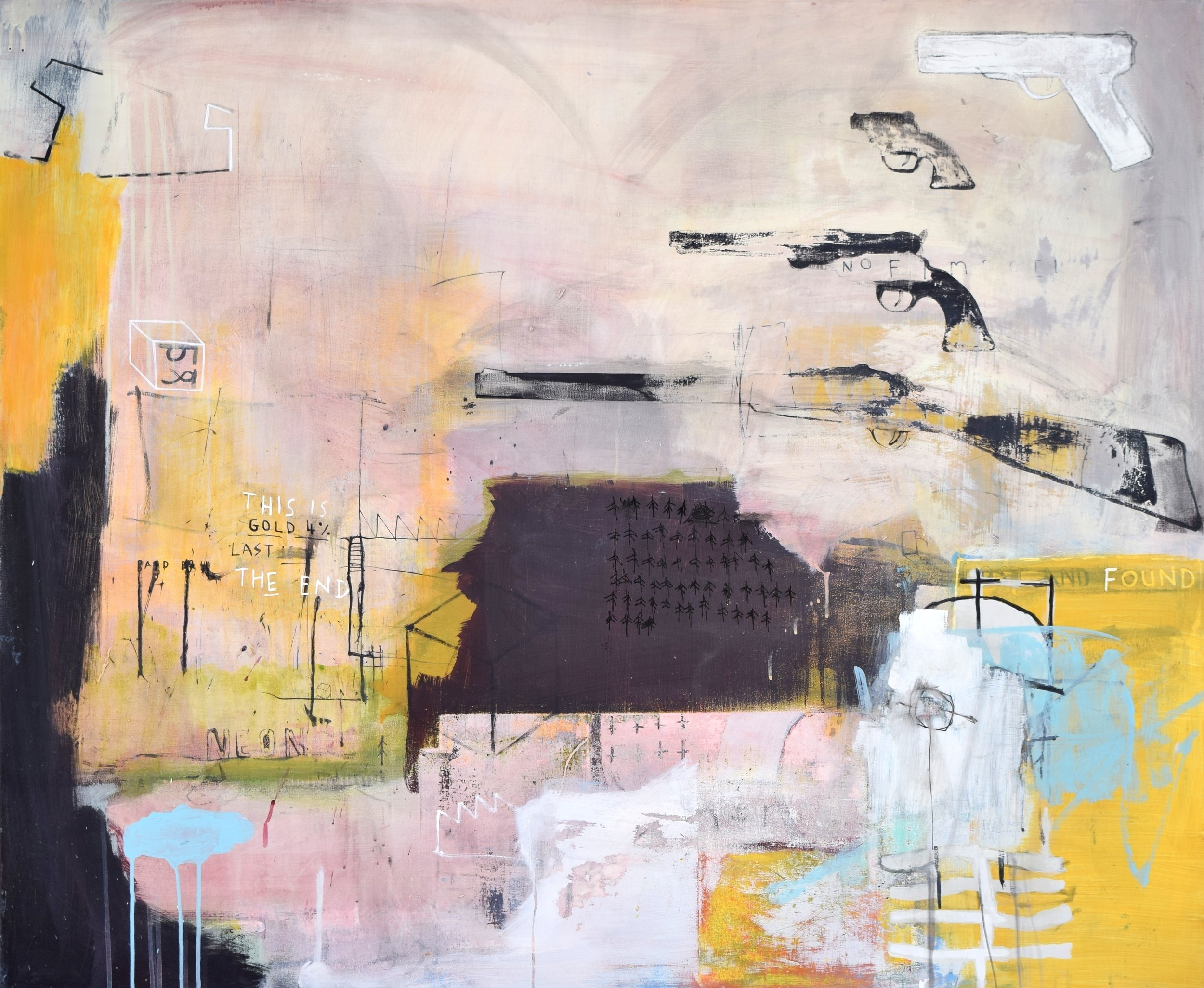 'CATCH 22' 2015    Spray paint, ink and acrylic paint on canvas 100 x 120 x 4.5 cm