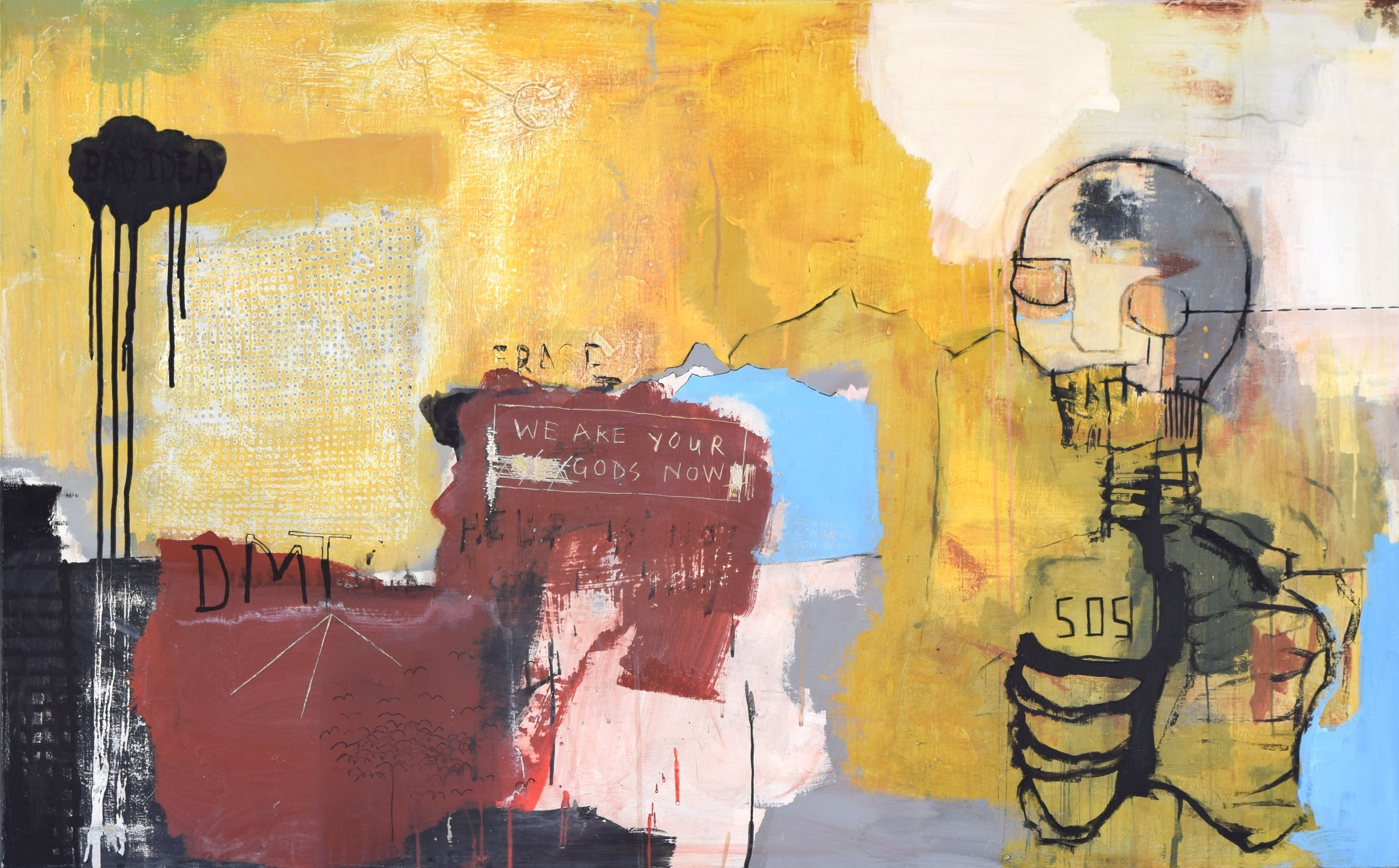 ' BAD IDEA 505' 2015    Acrylic paint and spray paint on canvas 80 x 120 x 2 cm