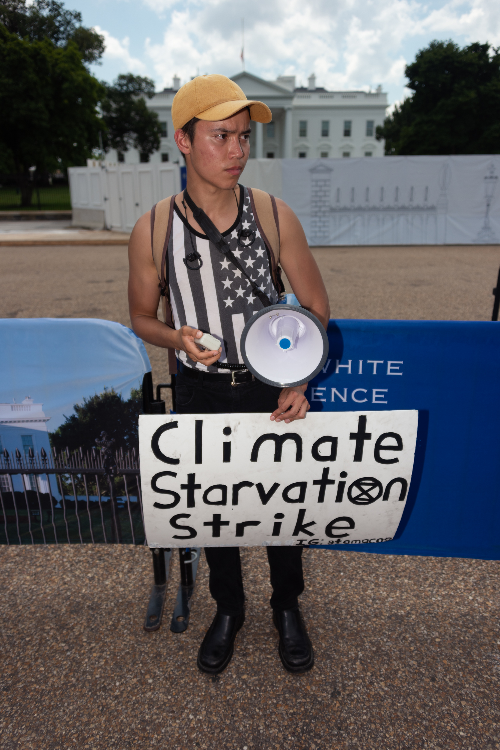 Giovanni Tamacas protesting outside of the White House in Washington, DC. This was his tenth day of fasting in the name of climate change. August 4th, 2019.
