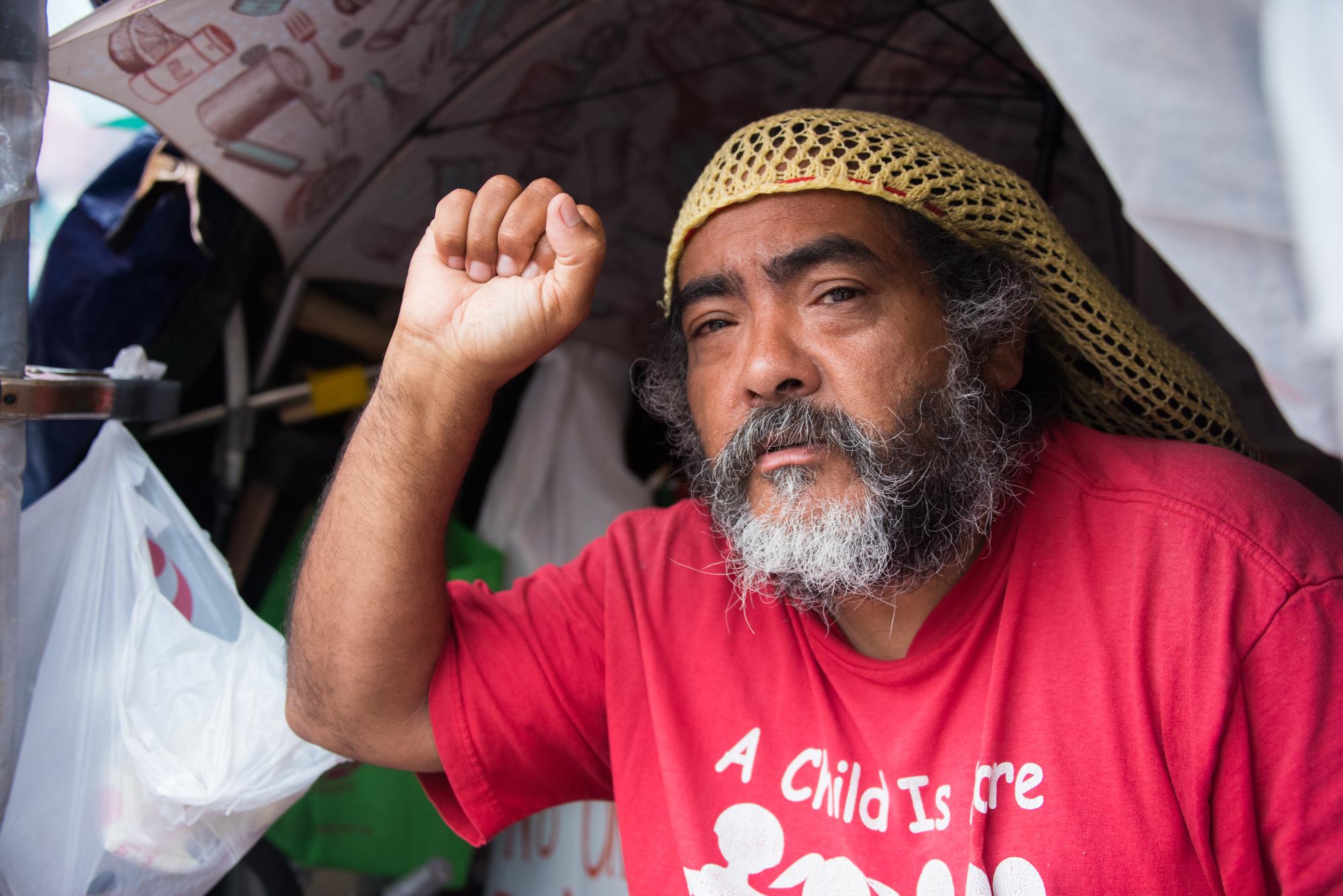 Philipos Melaku-Bello, protester and custodian of the peace vigil outside the White House.