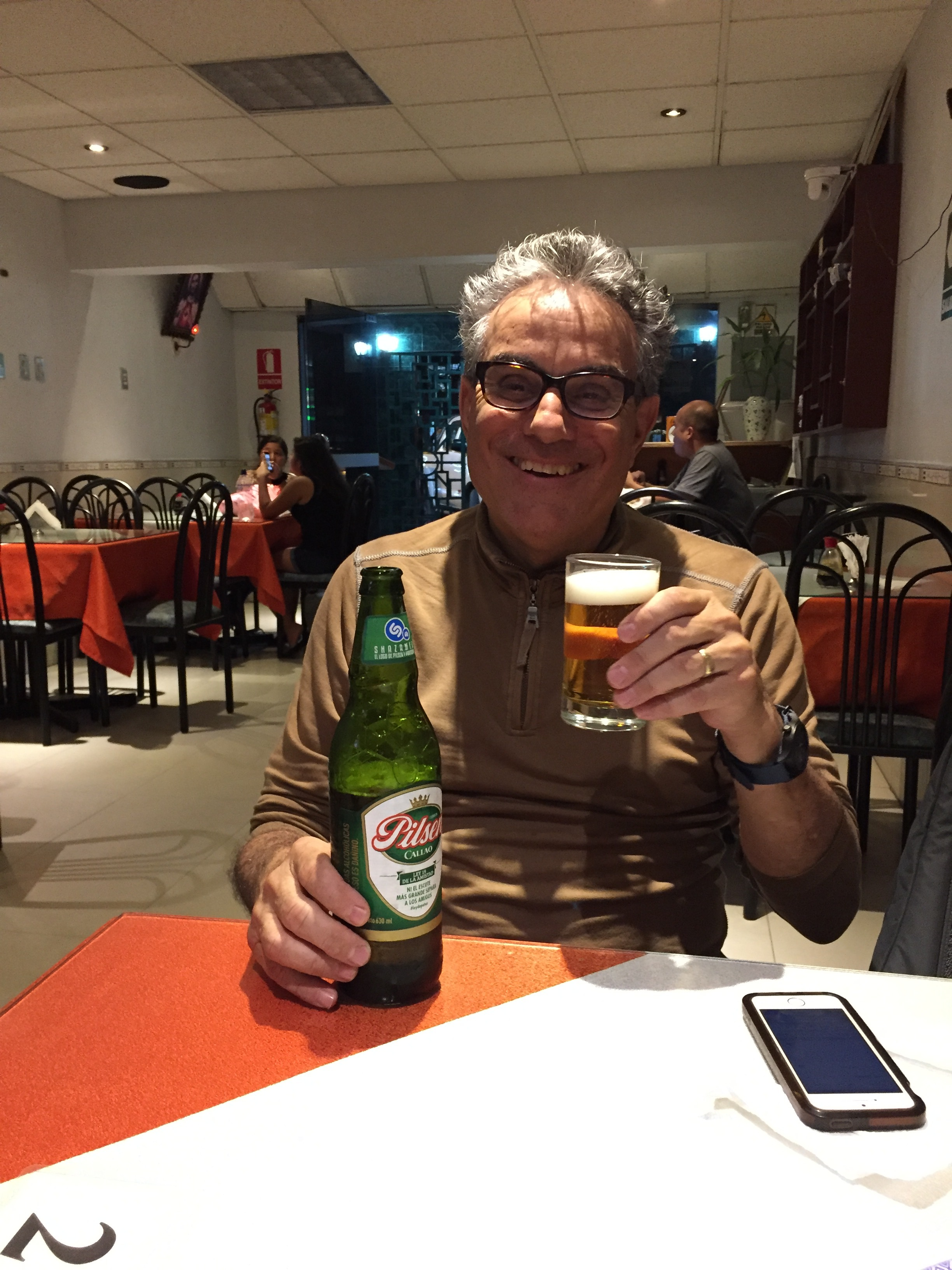 Frank with his beer at the Chinese restaurant