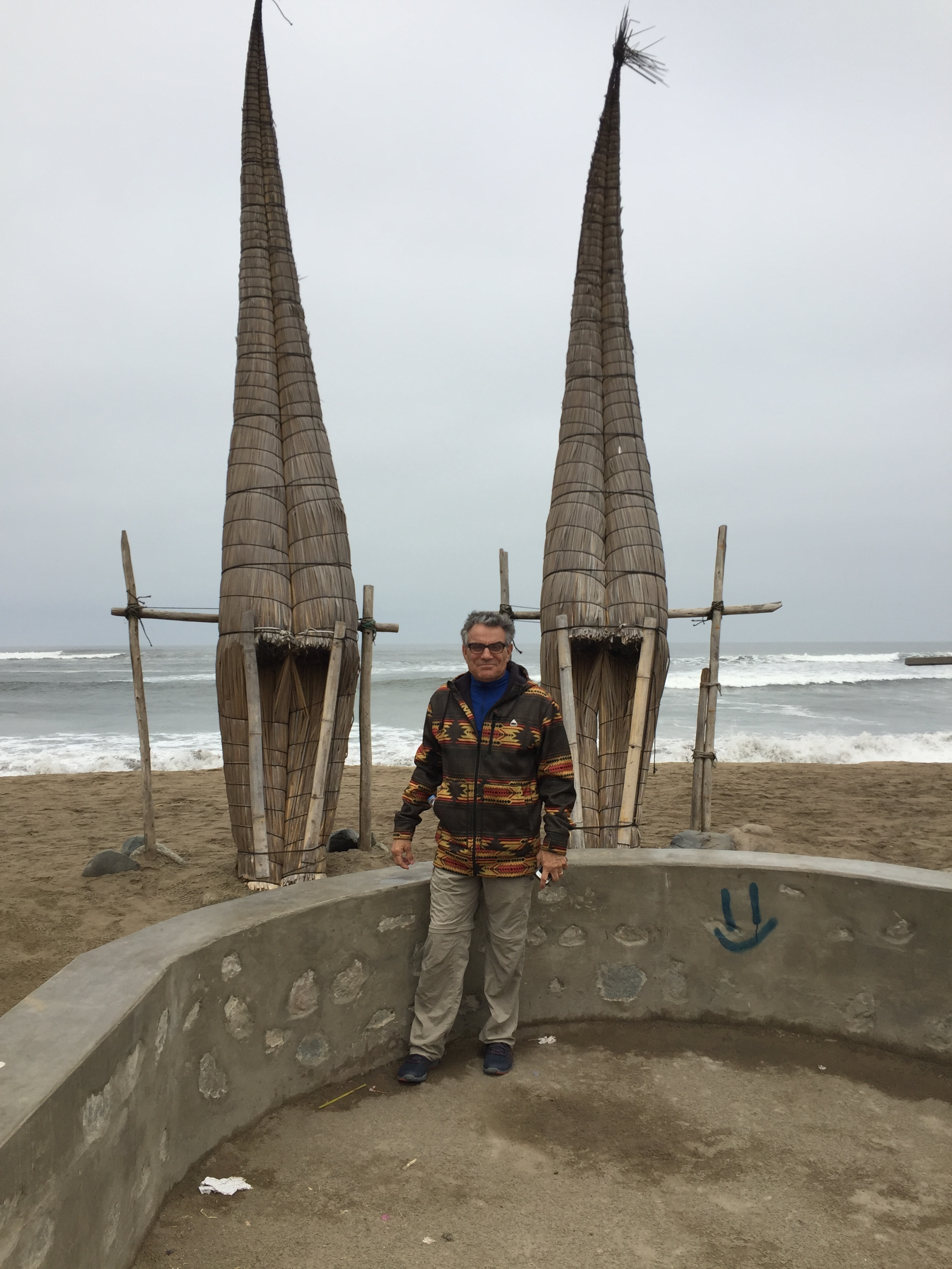 Frank at the beach, these are boats made from reeds