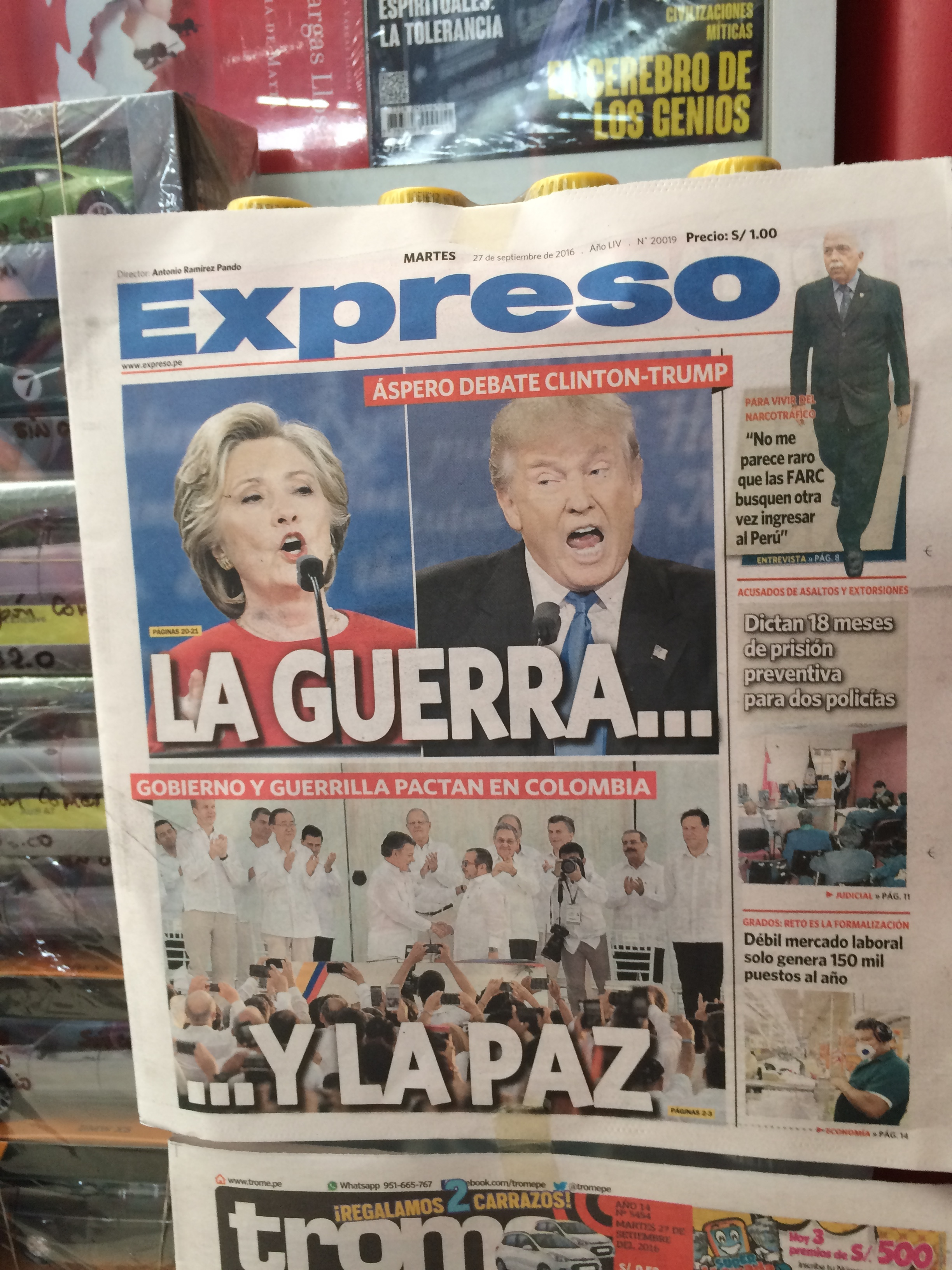 A newspaper with the US debate coverage