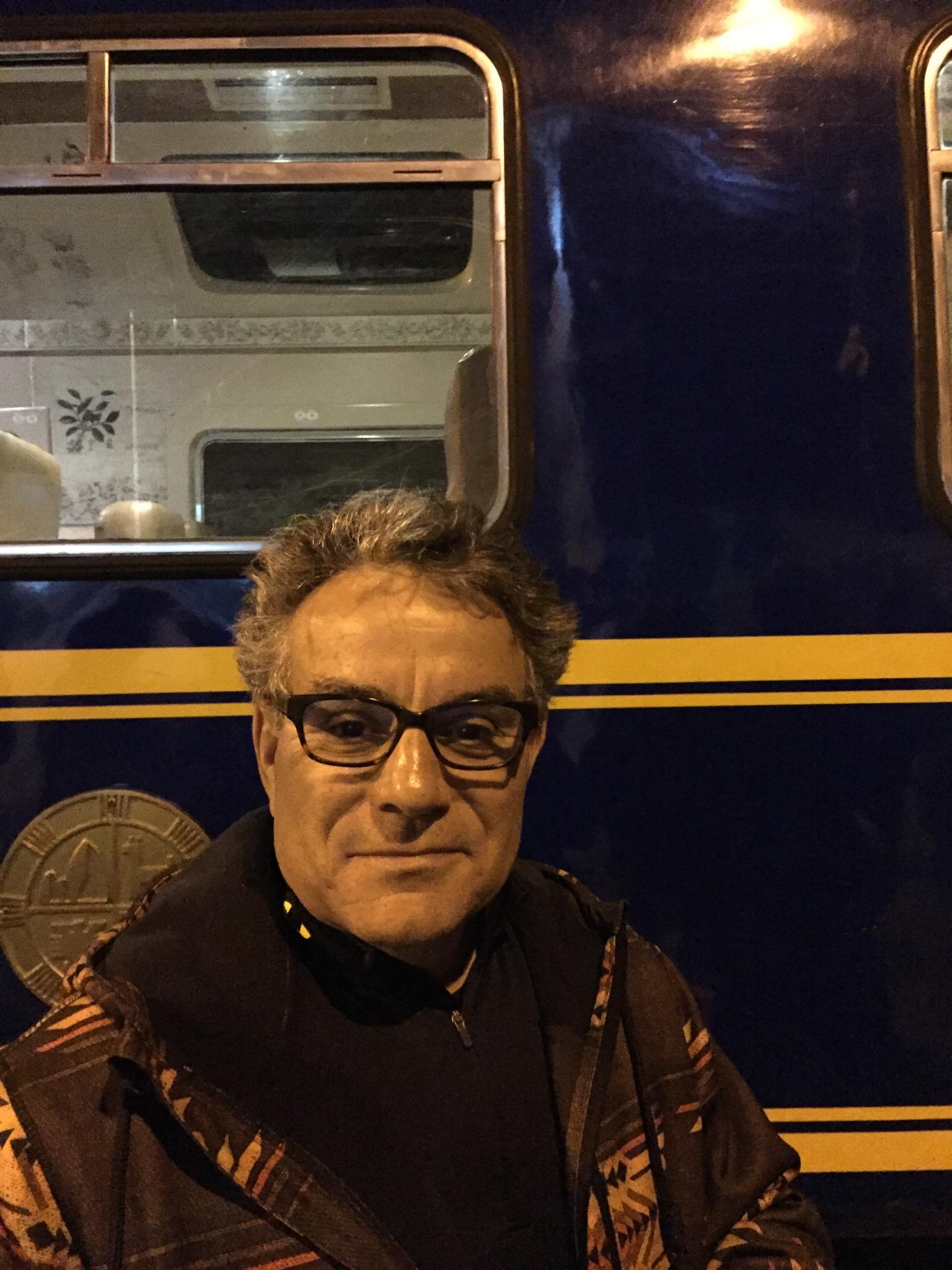 Frank on train