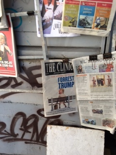 Newspaper headline in Santiago