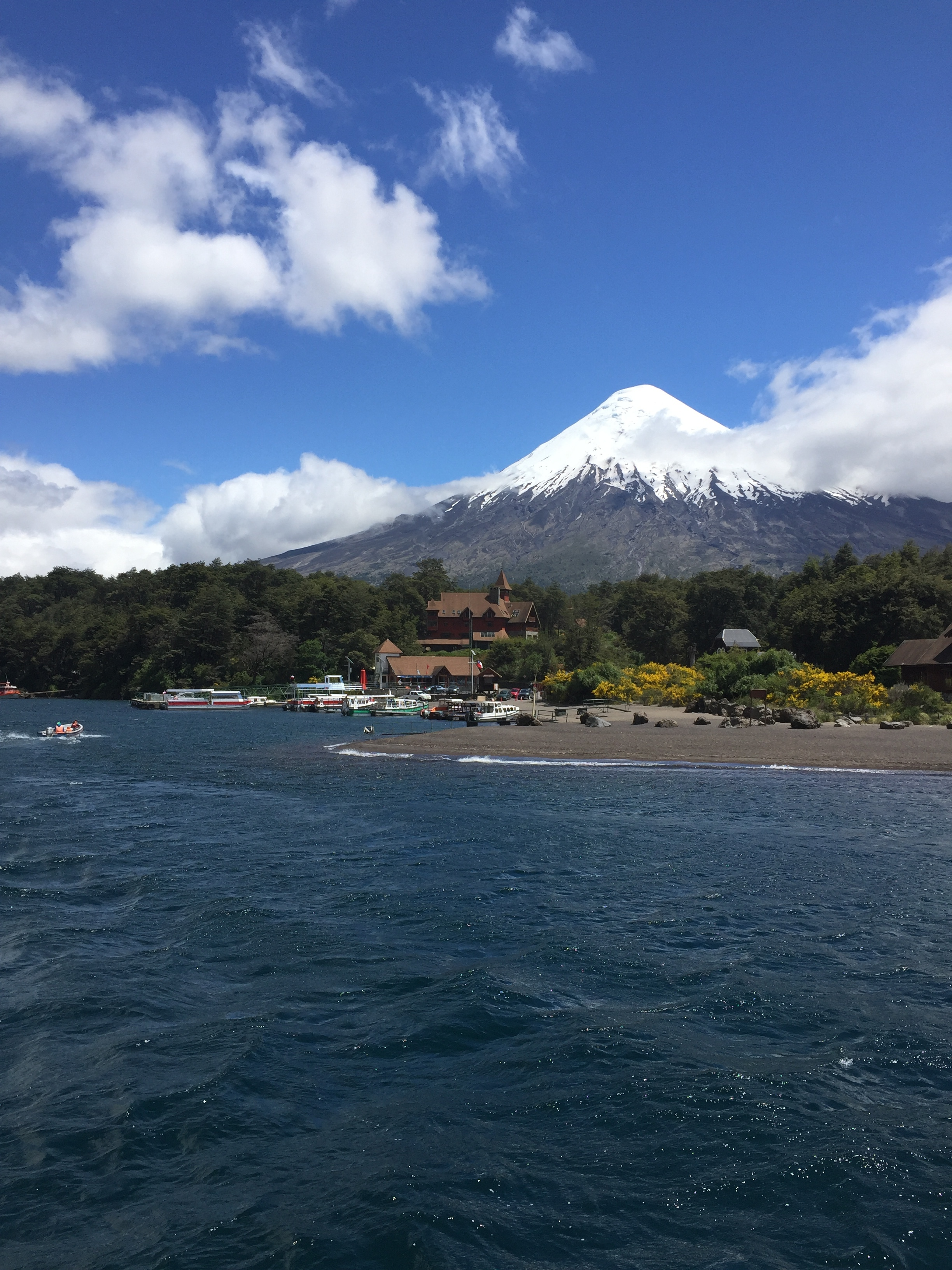 The view of the volcano from the boat, this is the same volcano we hiked but the opposite side
