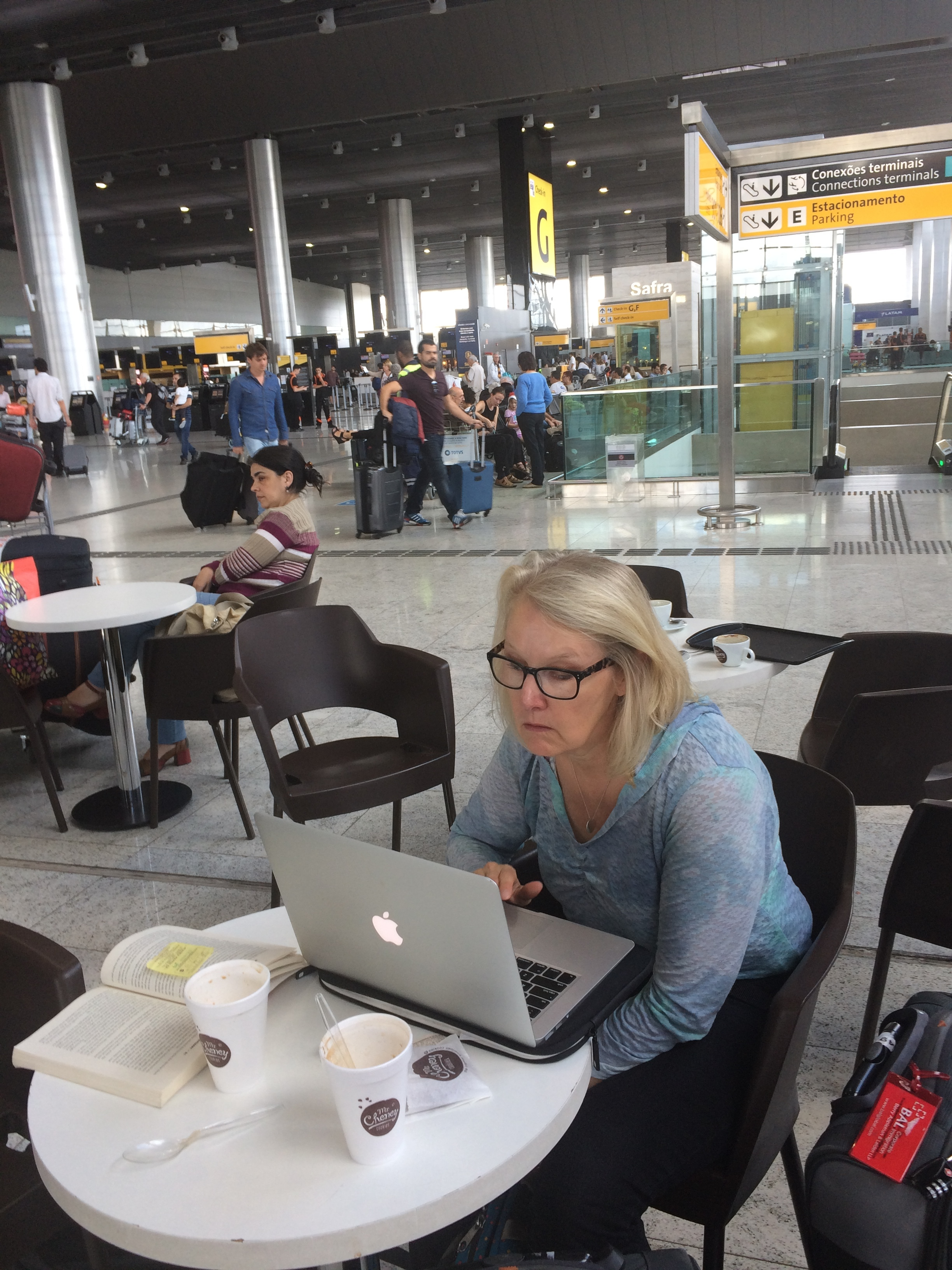 Janet working on this blog at the airport