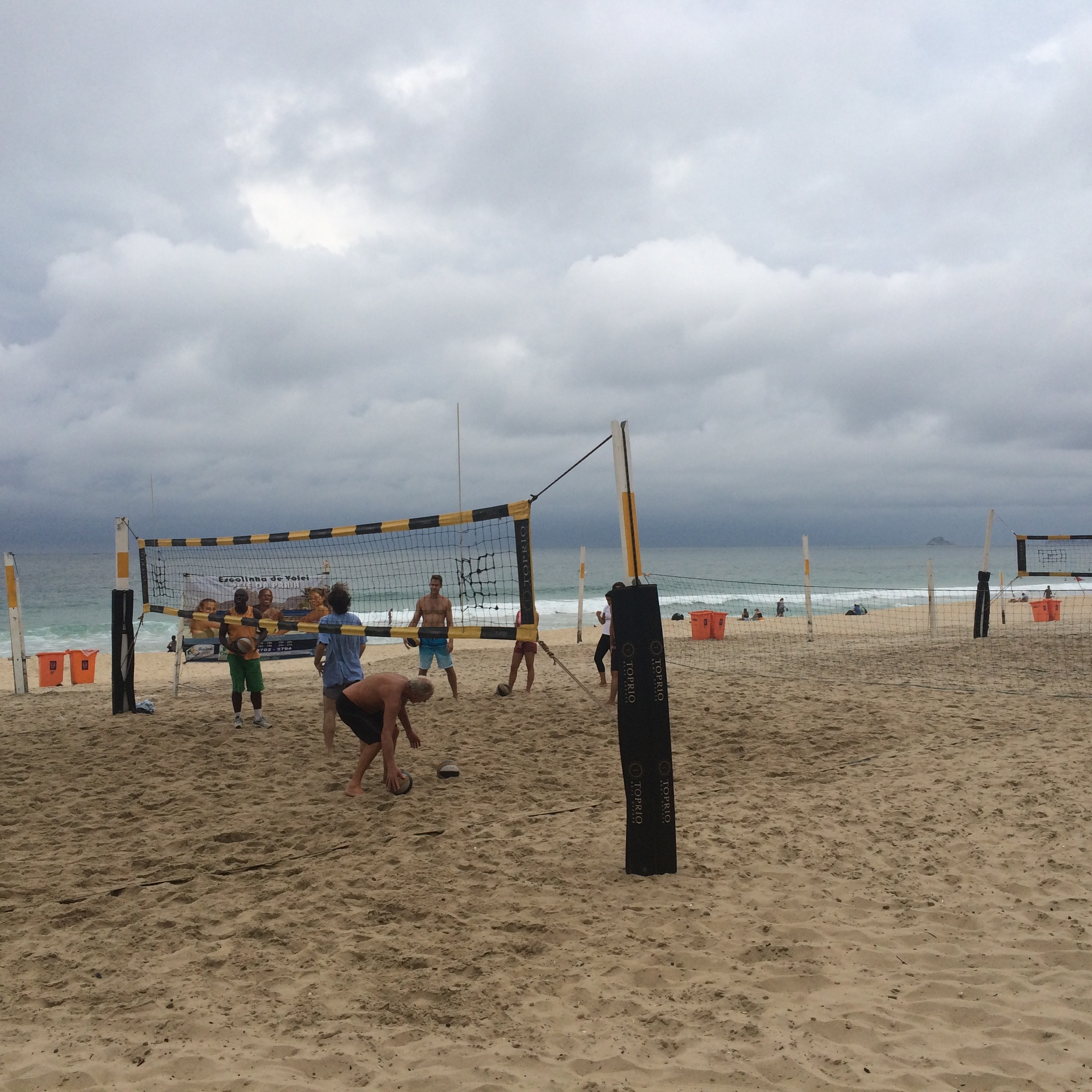 Volleyball drills at the beach