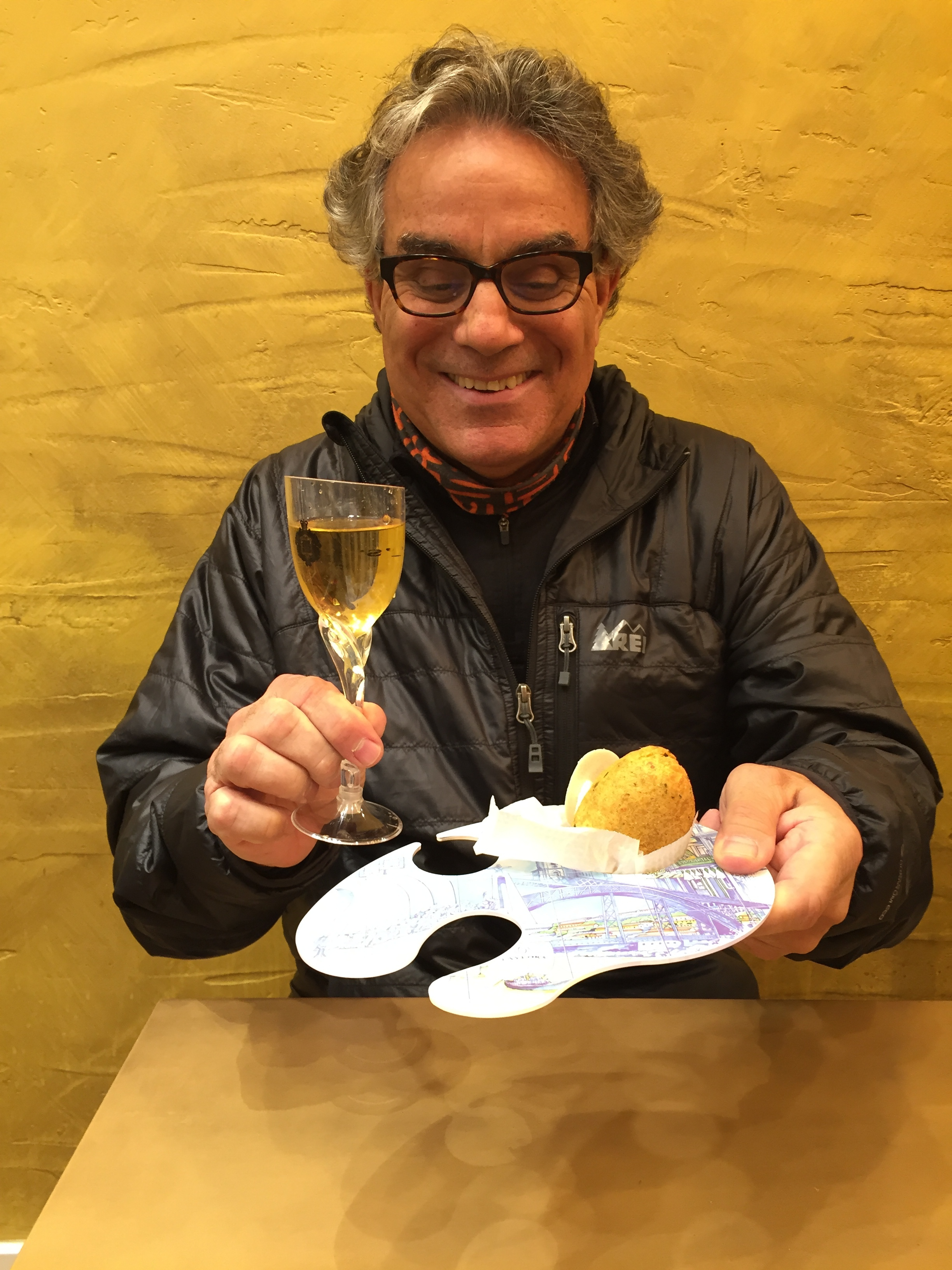 Frank with the cod fish balls and wine