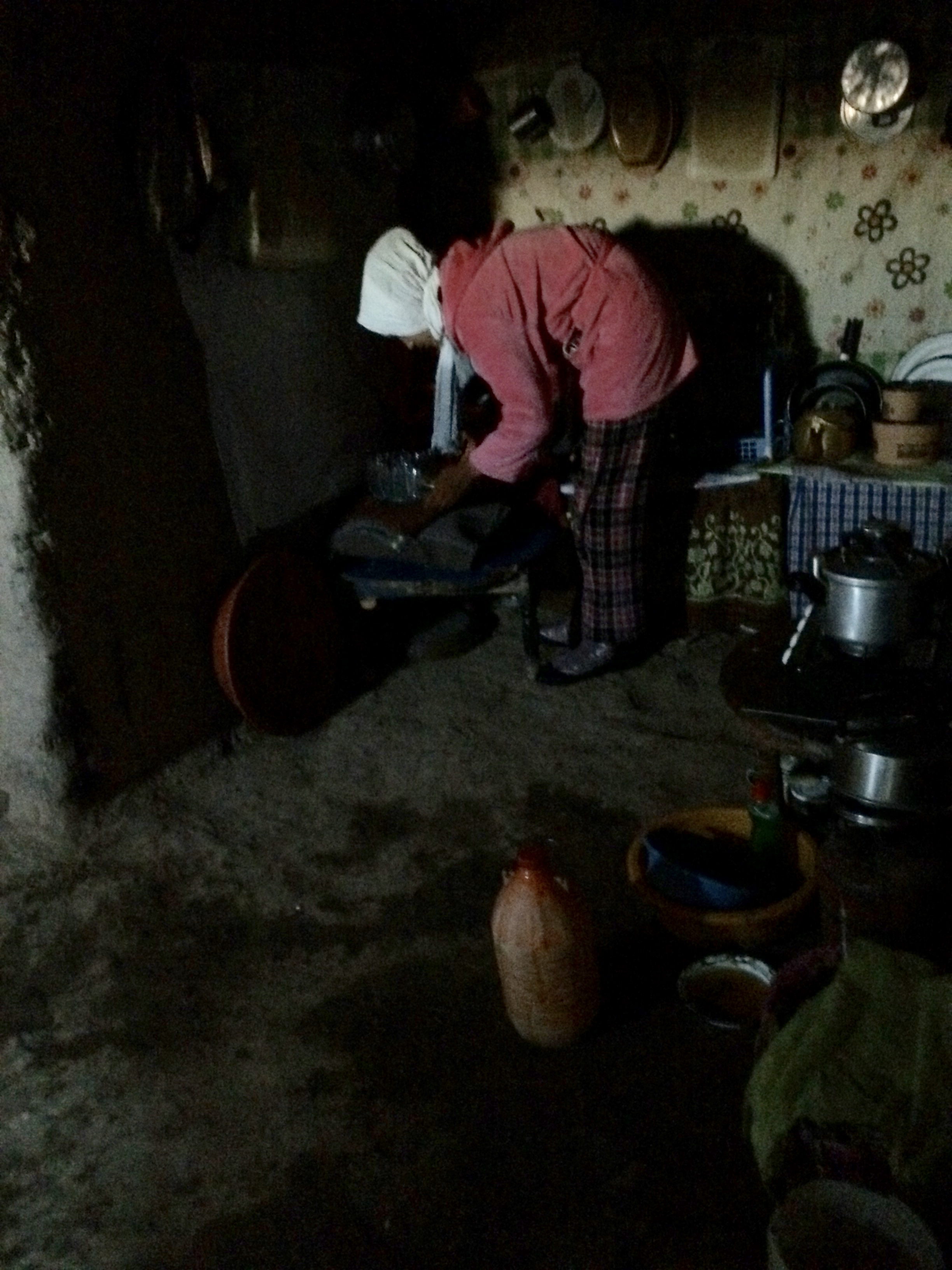Woman making tea for us