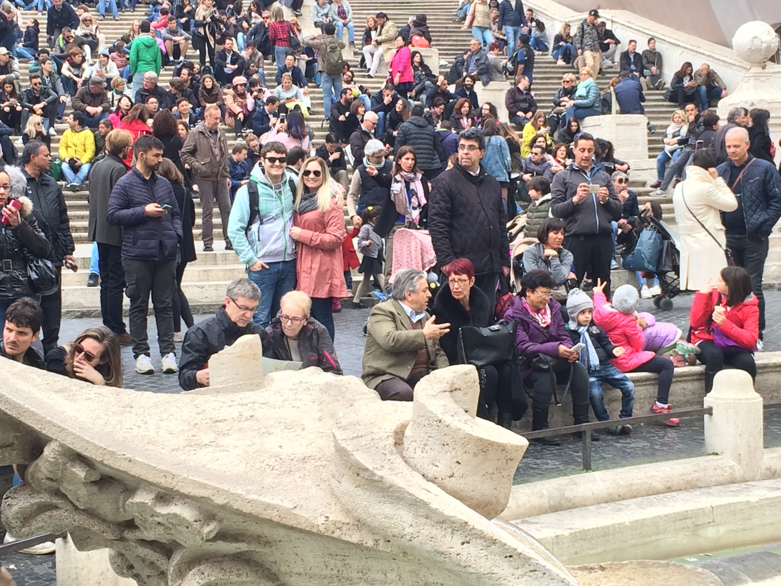 In the crowd at the Spanish Steps