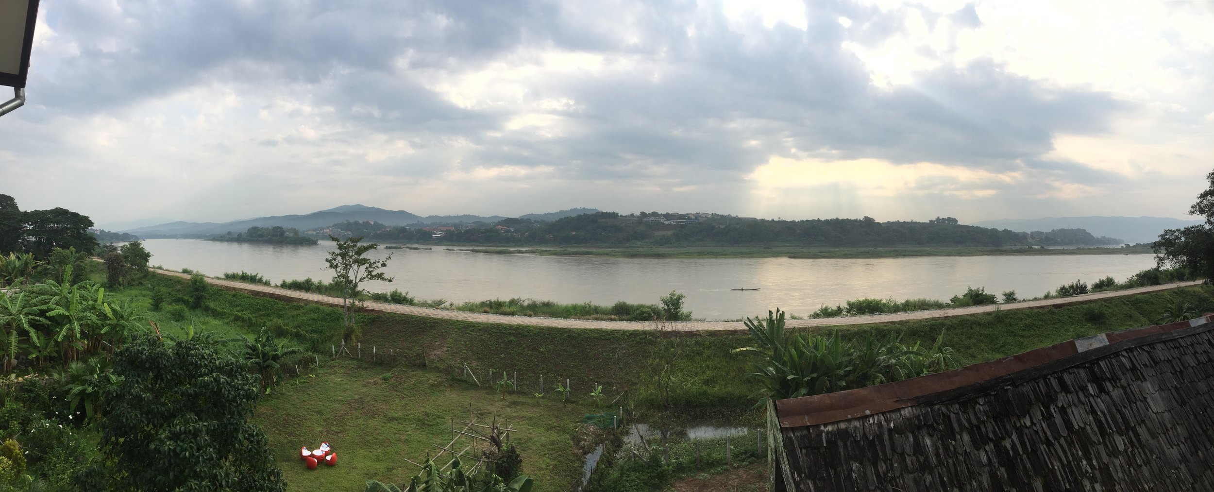 The view from our hostel, the Mekong river on the Thai side
