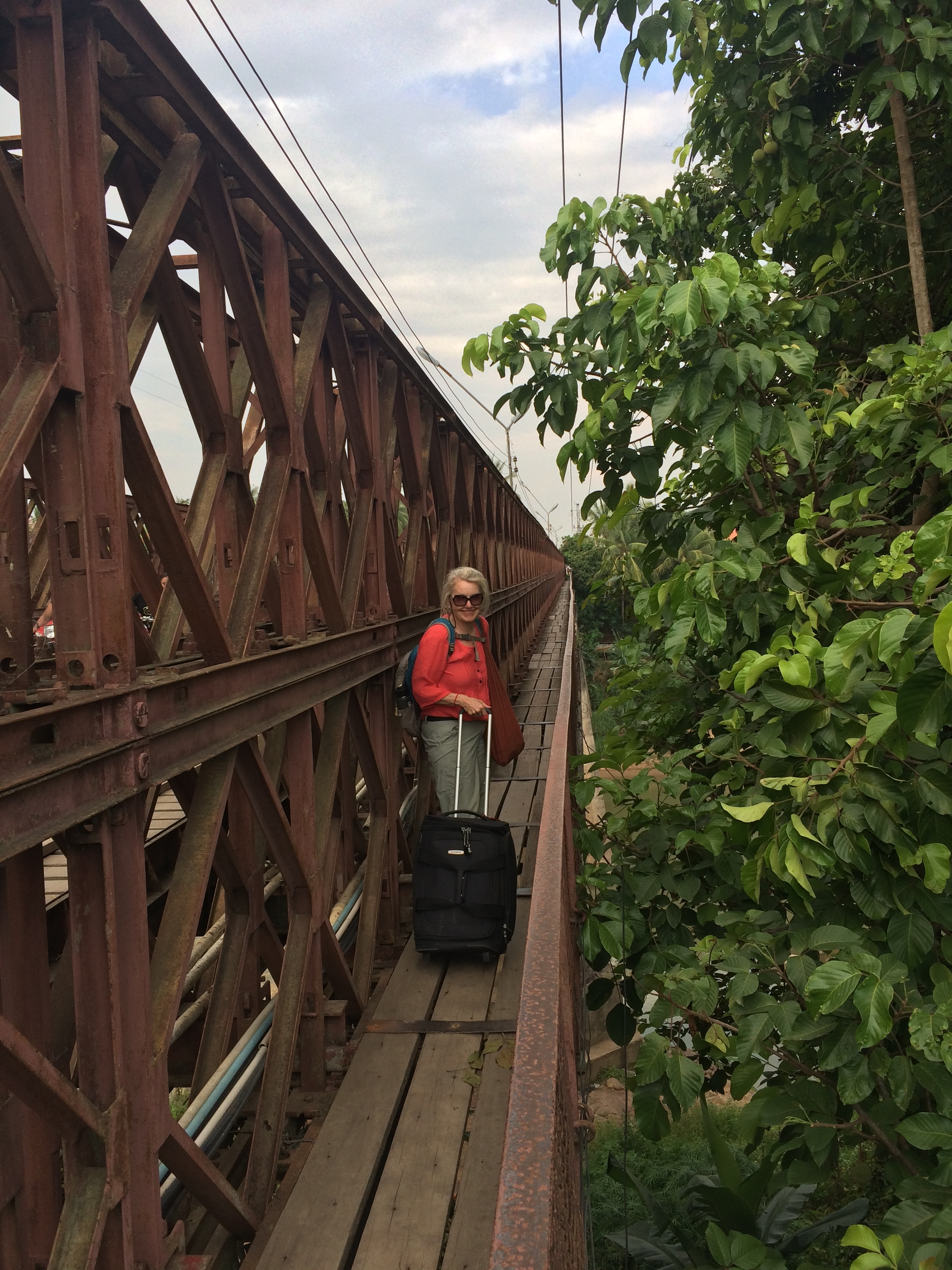 Our walk to the hotel including crossing this old bridge with our luggage