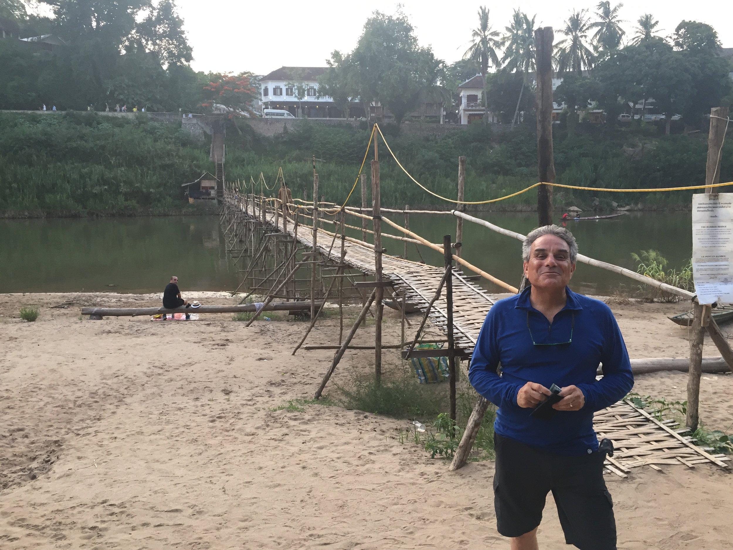 The walking bamboo bridge