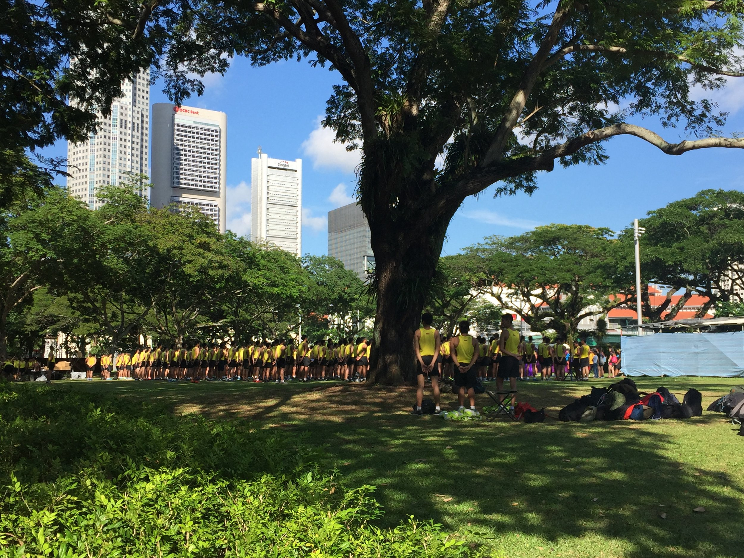 The recruits are training for Singapore's national day in August