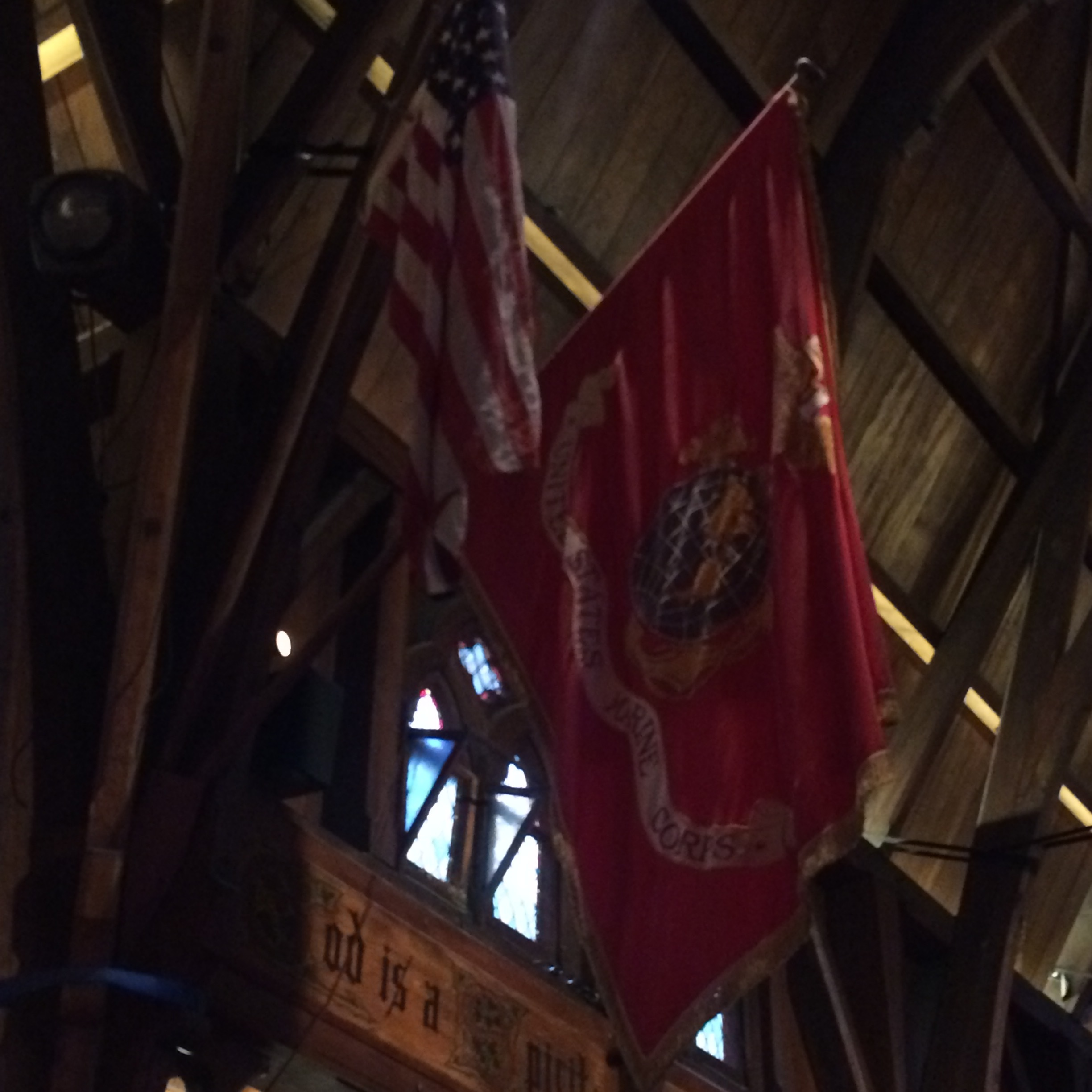 The flags in the church