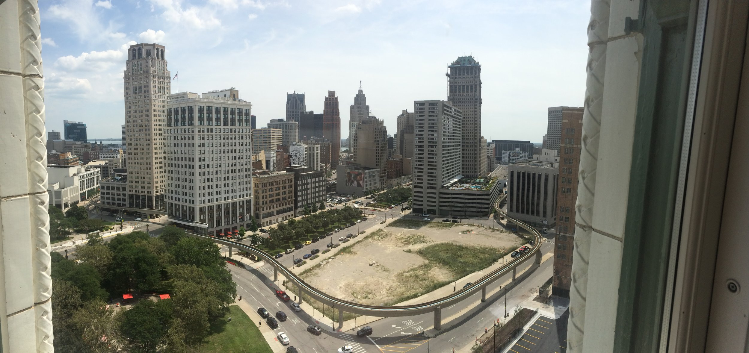 Our view of downtown Detroit from our temporary apartment