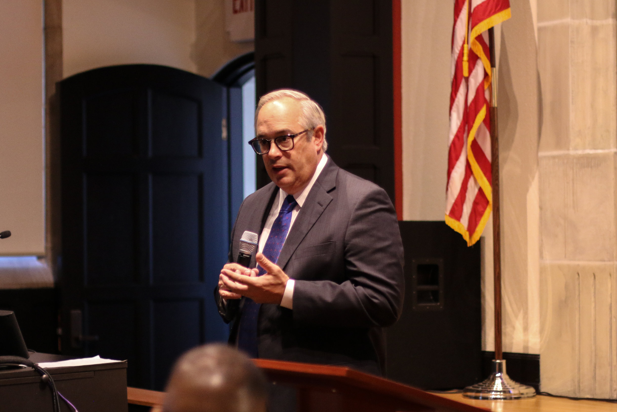 University of Tulsa President Gerry Clancy addressed the international students of TU (11/15). Photo by Luke Lau.