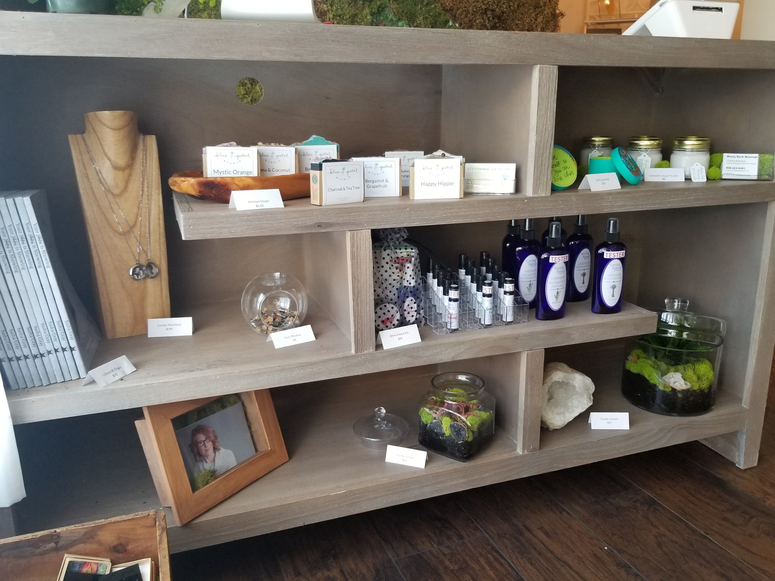 Local made products available for purchase at the Jasper & Fern Self Care Lounge in downtown Winston-Salem, NC