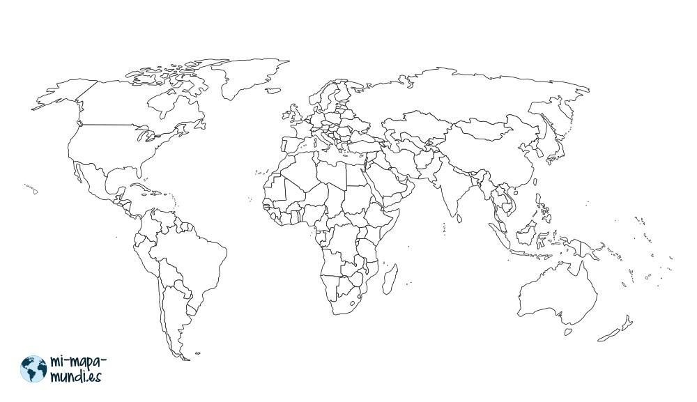Mapa mundi con fronteras