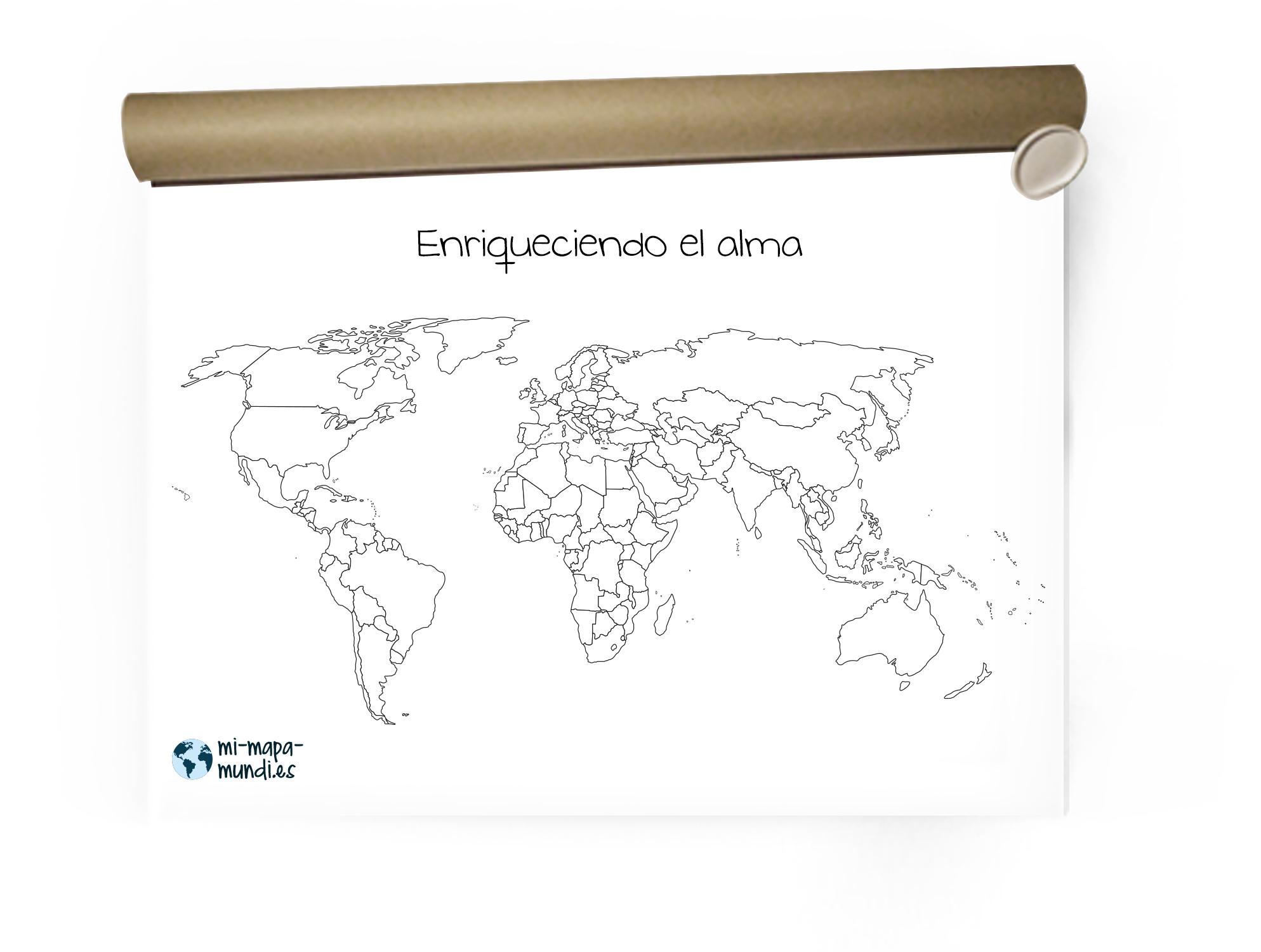 Mapa mundi con fronteras para pintar