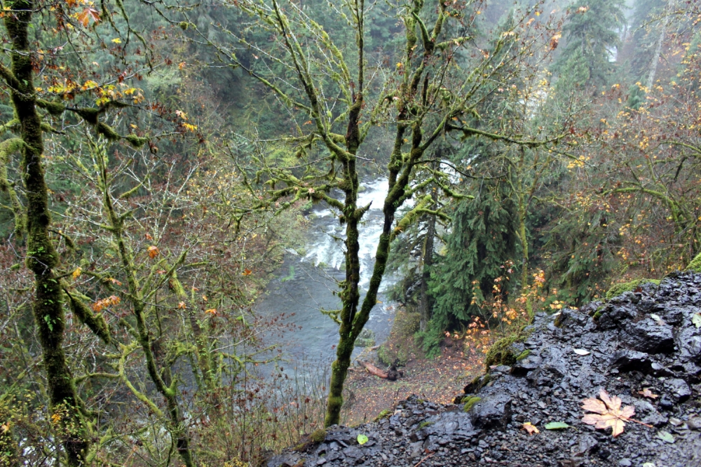A photo from the rocky edges of the Eagle Creek Trail