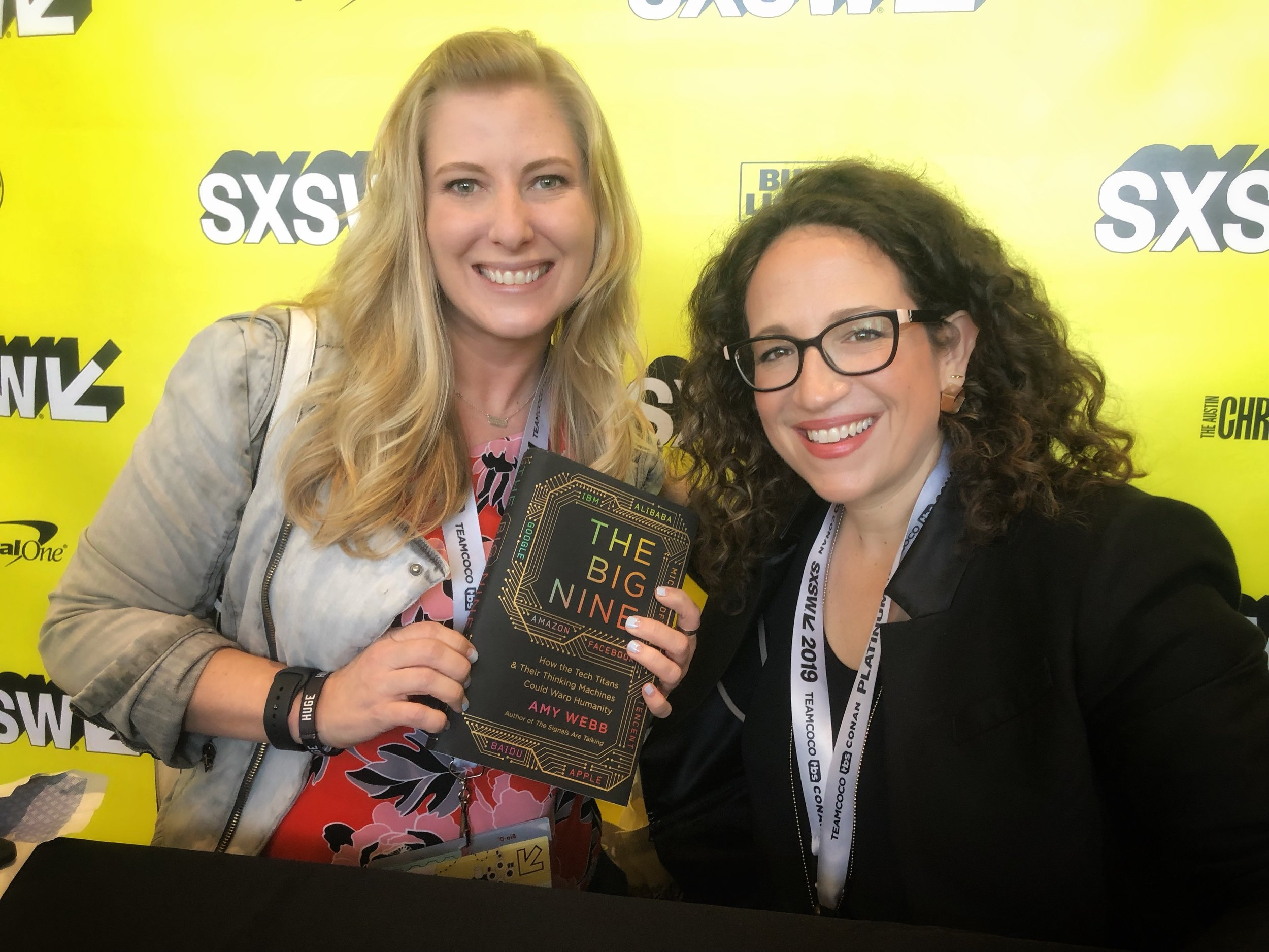 Amy Webb and me with her new book, The Big Nine